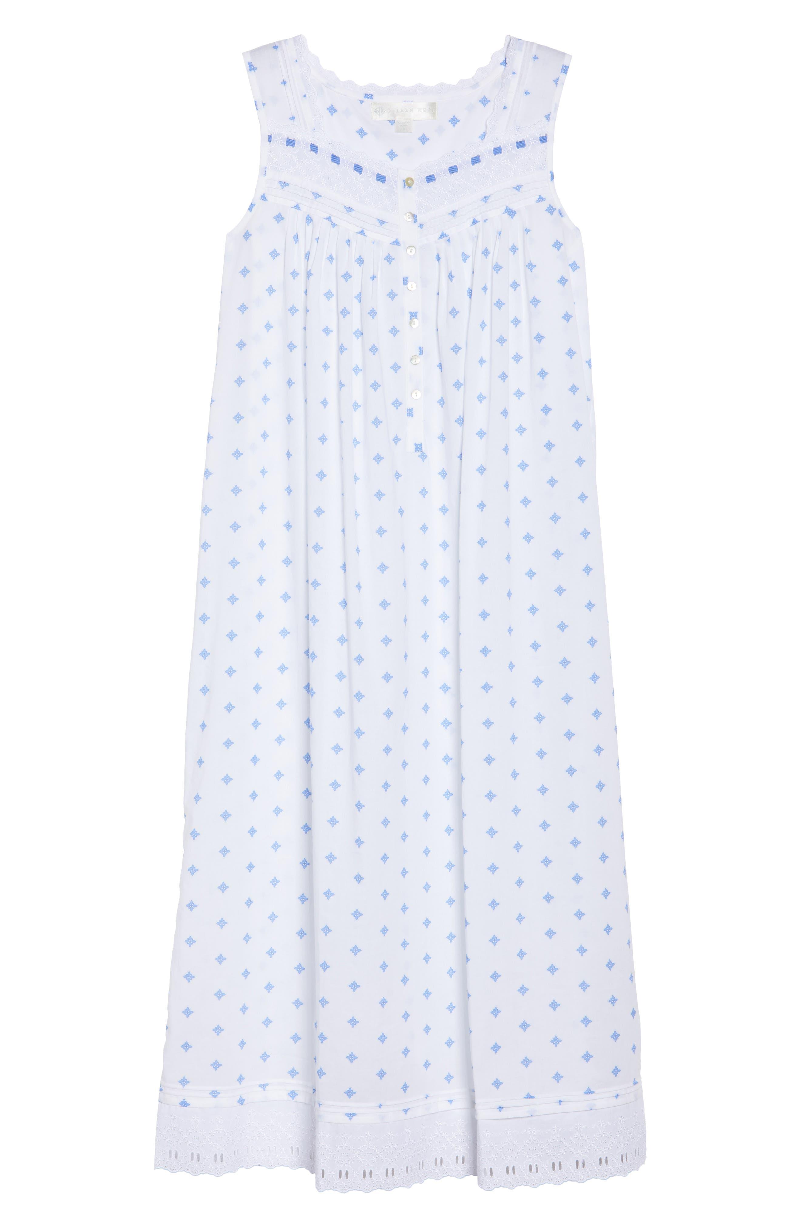Ballet Nightgown,                             Alternate thumbnail 4, color,                             White Blue Geo