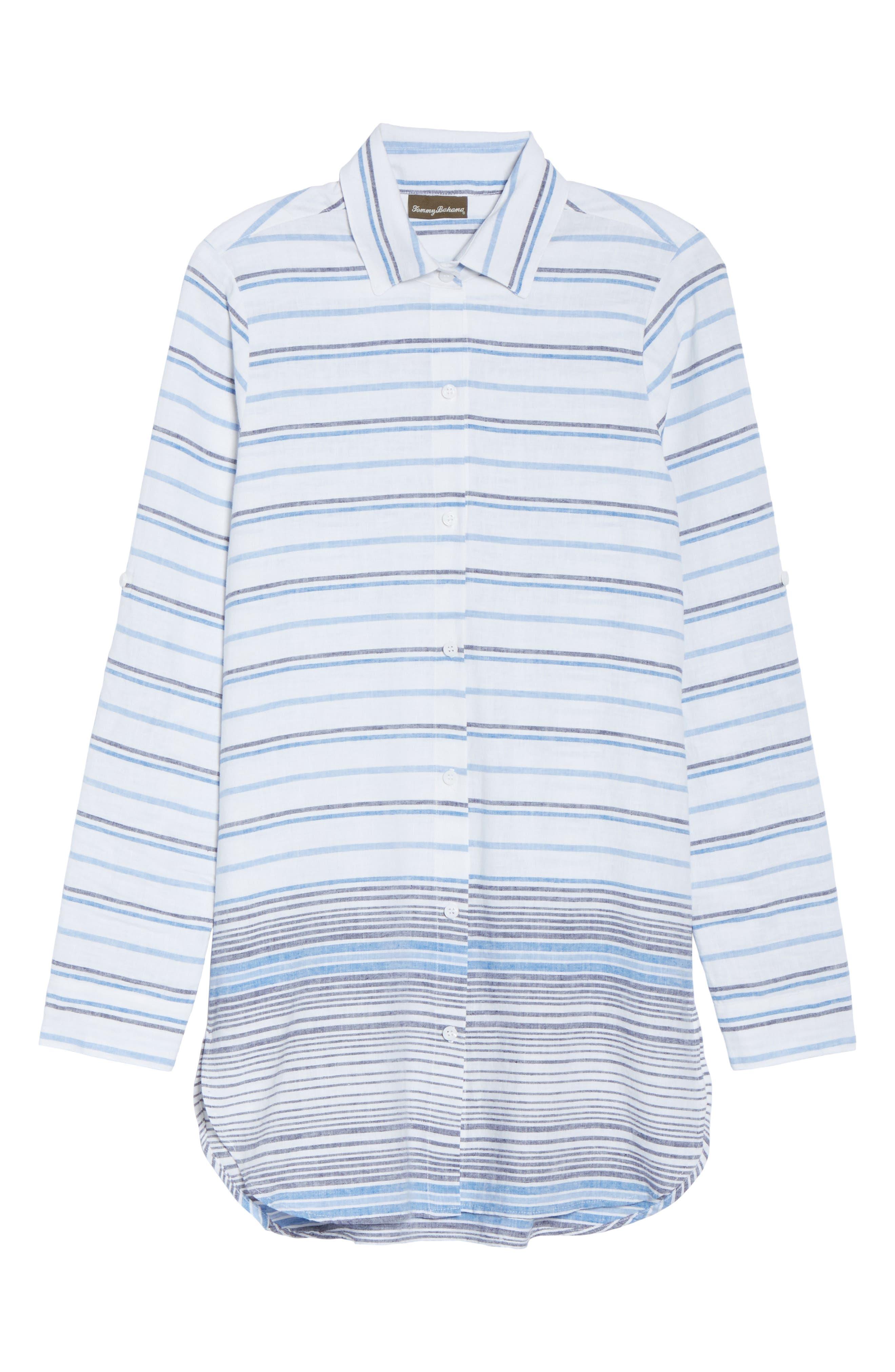 Stripe Linen & Cotton Cover-Up Tunic,                             Alternate thumbnail 6, color,                             White