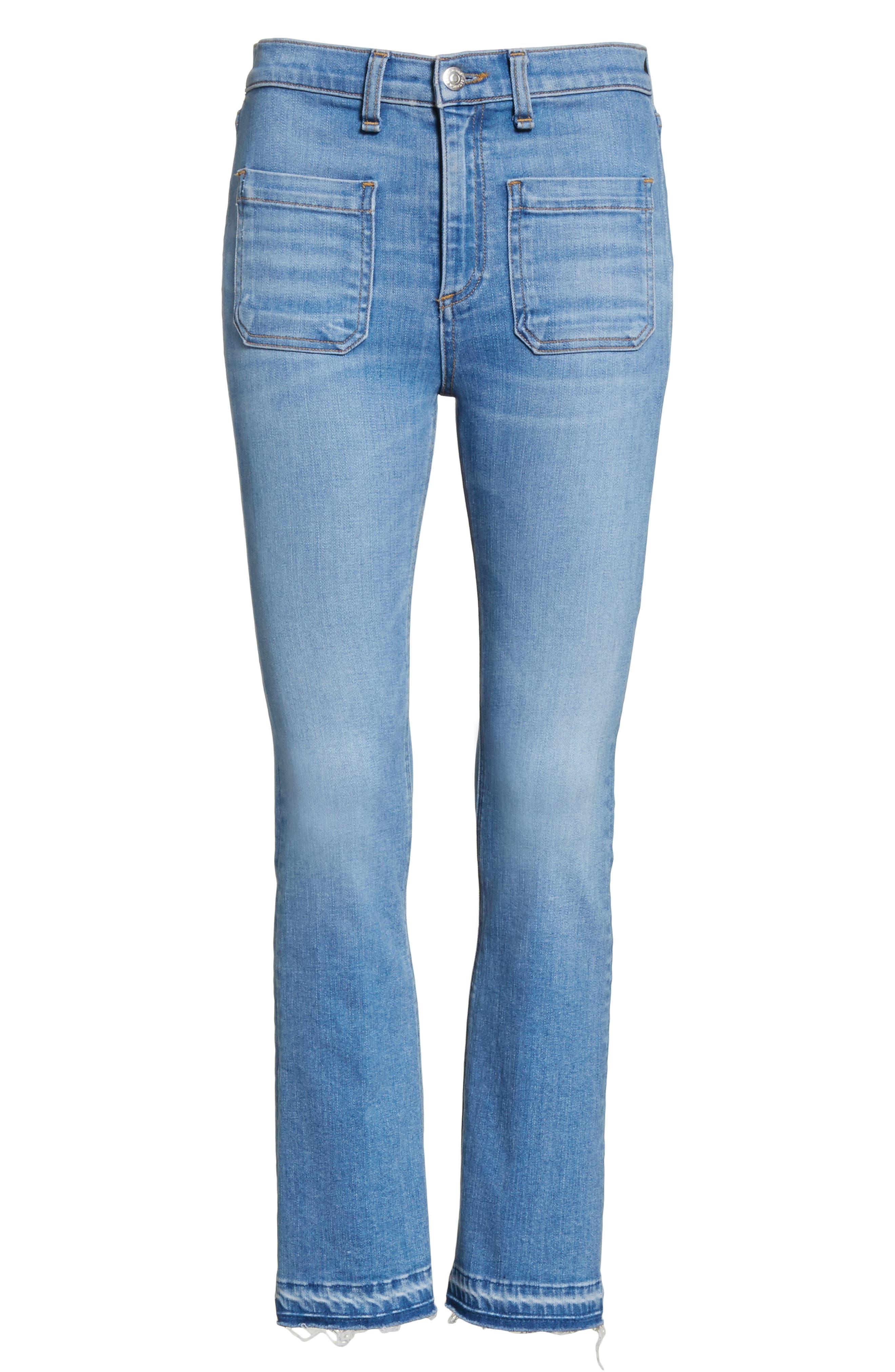Carolyn Crop Baby Boot Jeans,                             Alternate thumbnail 6, color,                             Ocean Blue