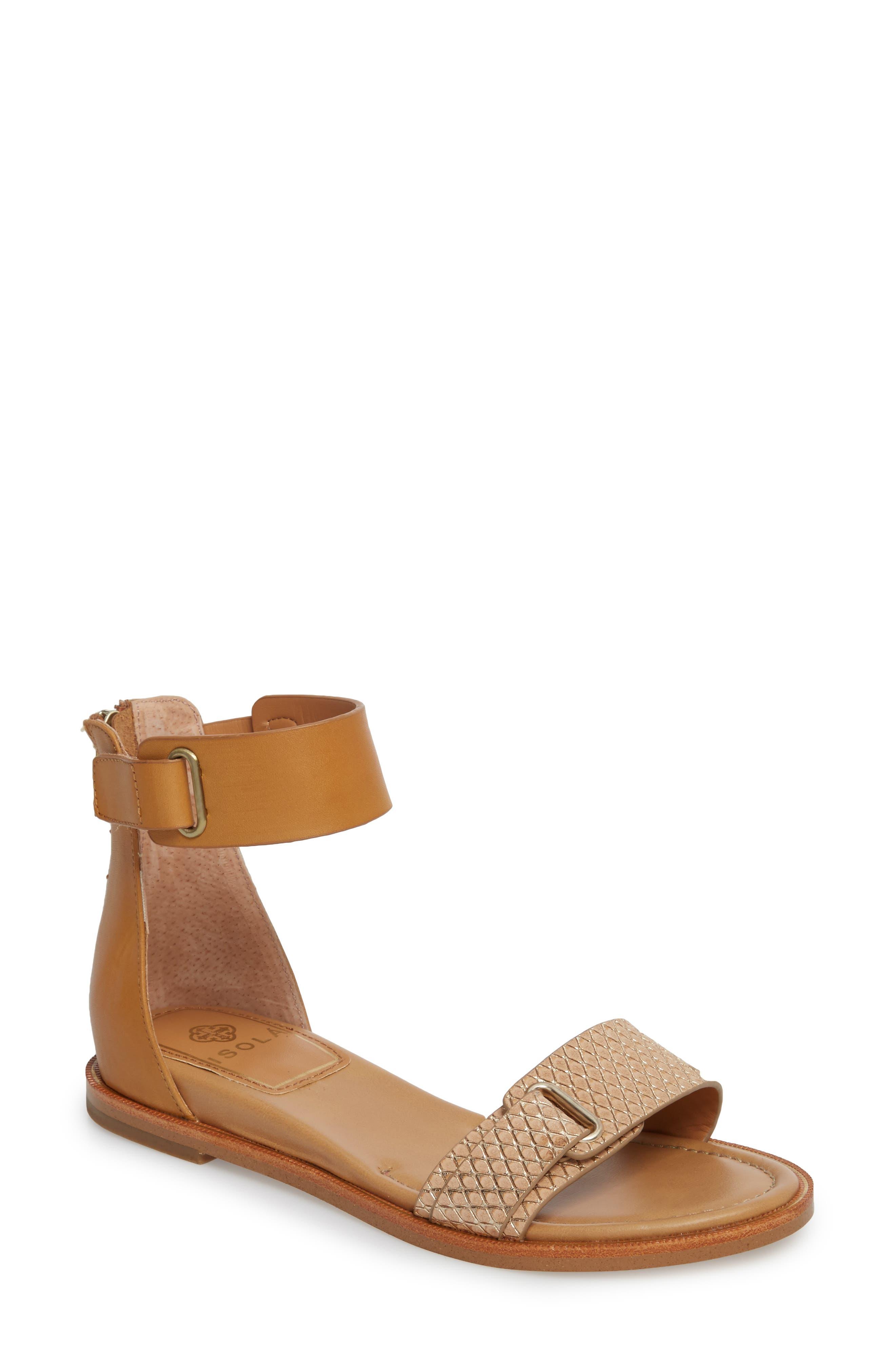 Savina Ankle Strap Sandal,                             Main thumbnail 1, color,                             Gold/ Desert Sand Leather