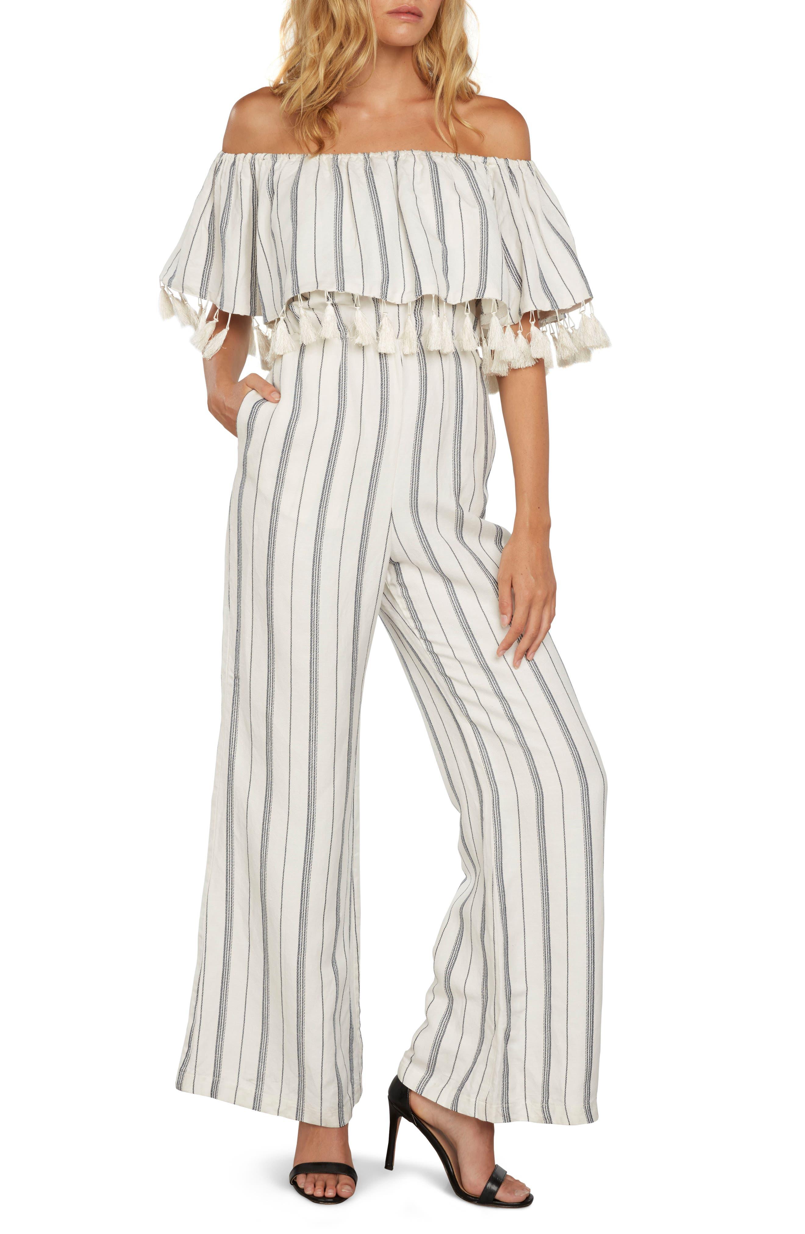 Stripe Off the Shoulder Jumpsuit,                         Main,                         color, Ivory