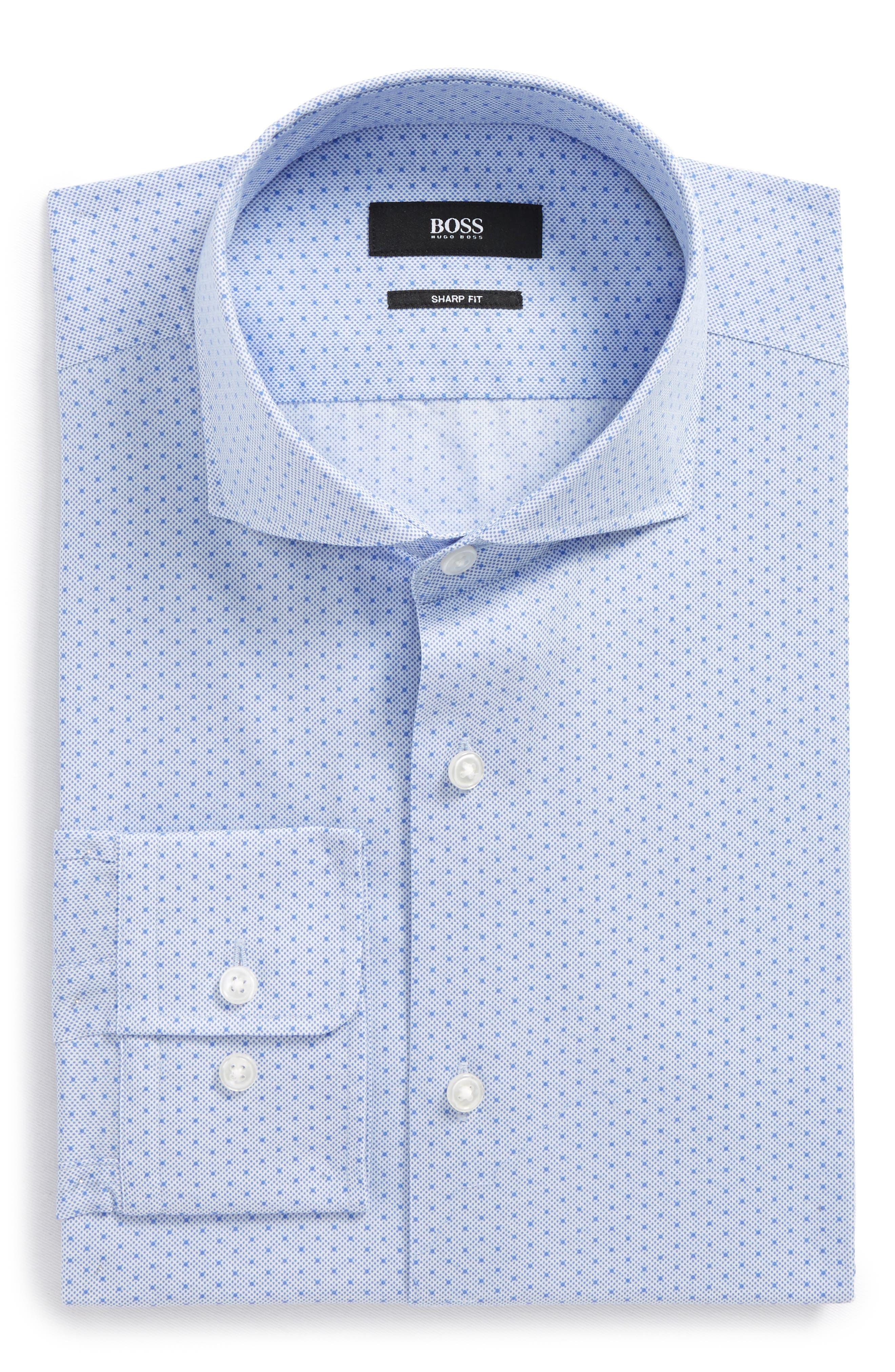 Mark Sharp Fit Dot Dress Shirt,                             Main thumbnail 1, color,                             Blue