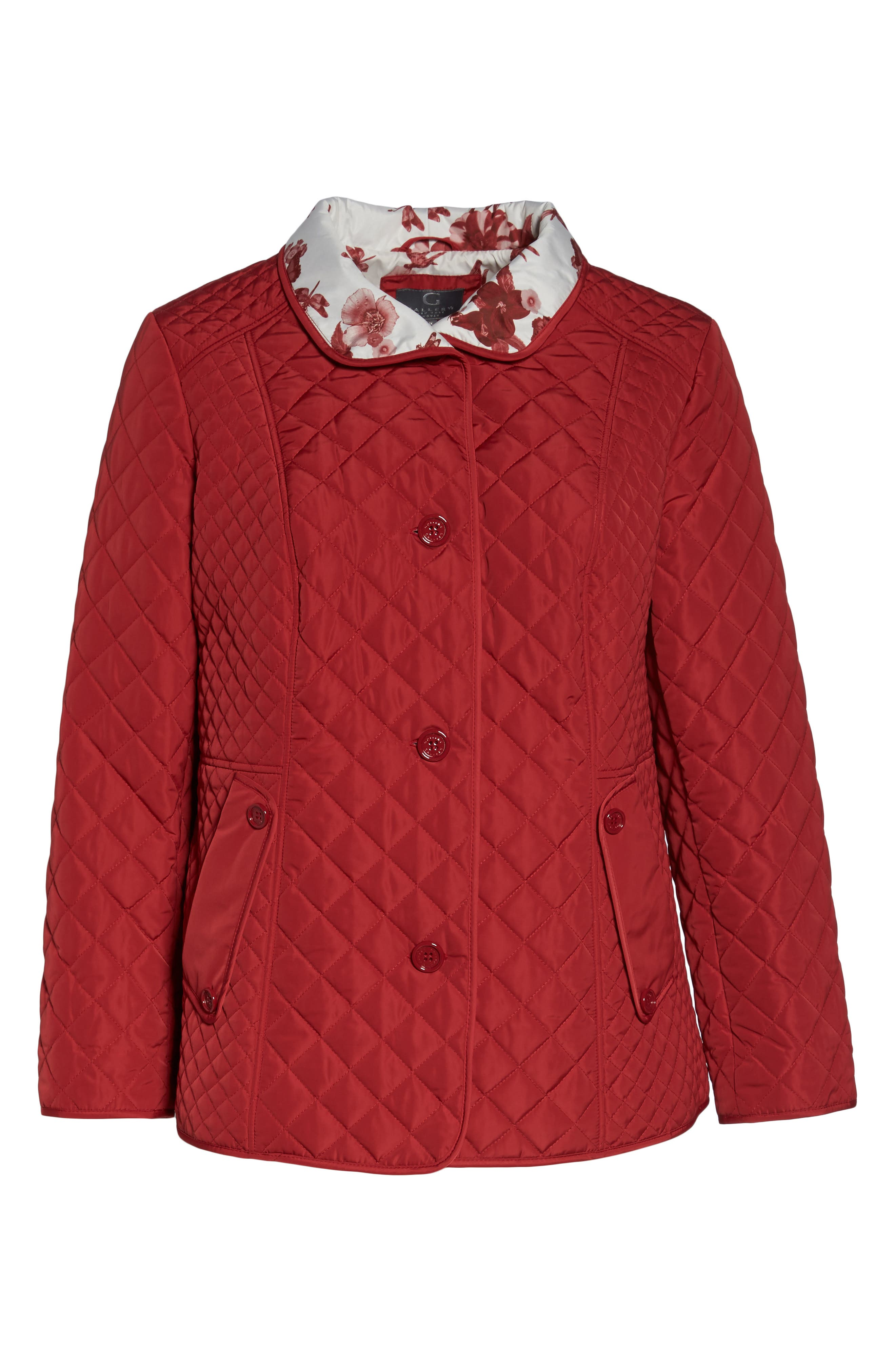 Print Collar Quilted Jacket,                         Main,                         color, Tomato Red