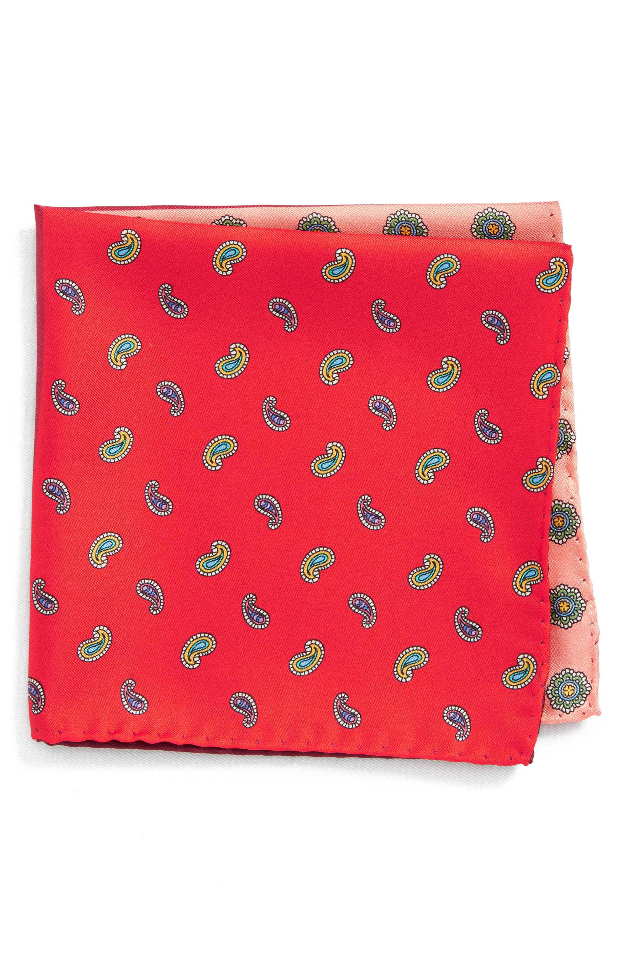 Four Panel Silk Pocket Square,                         Main,                         color, Red