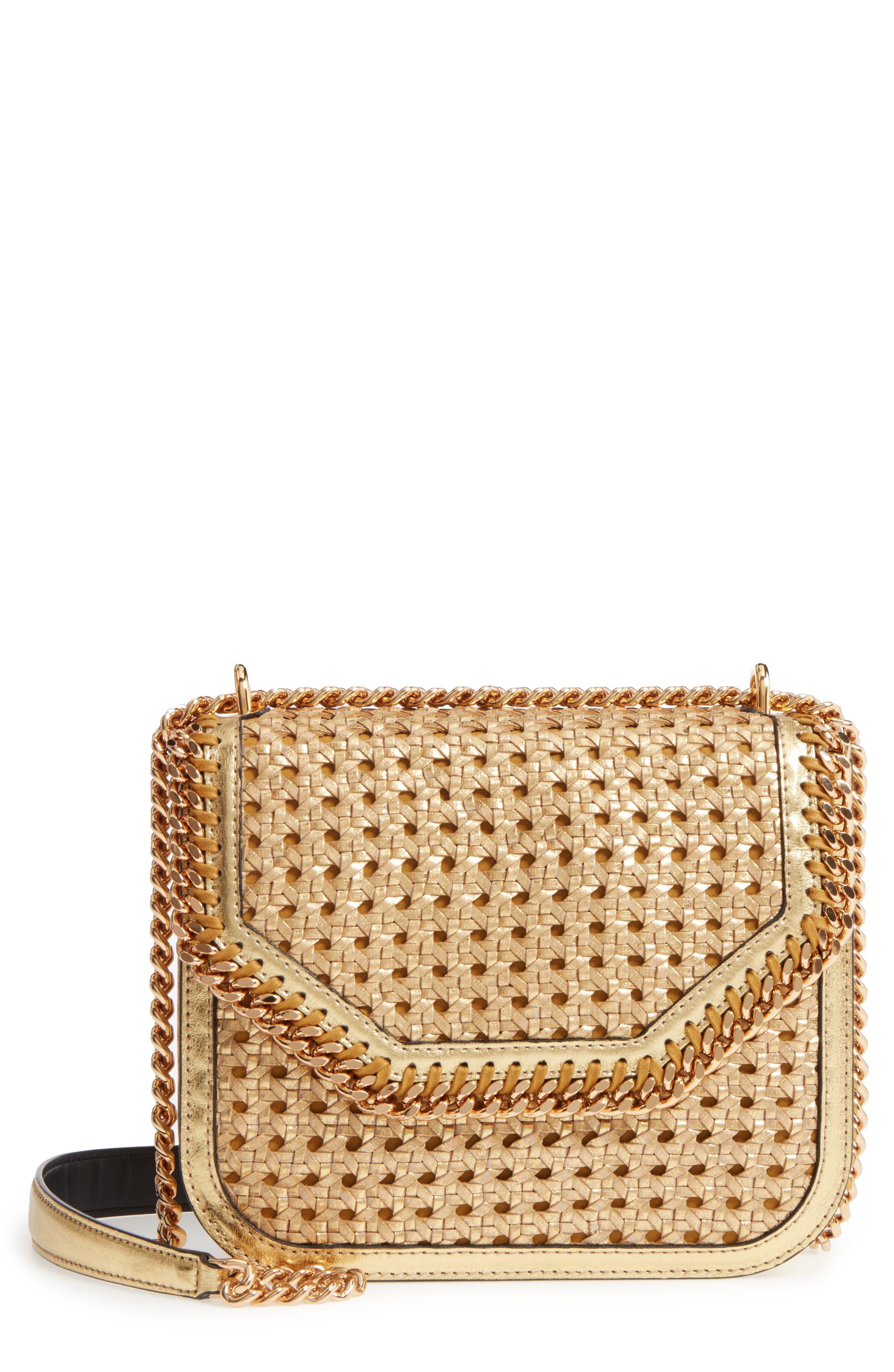 Stella McCartney Falabella Woven Metallic Faux Leather Shoulder Bag