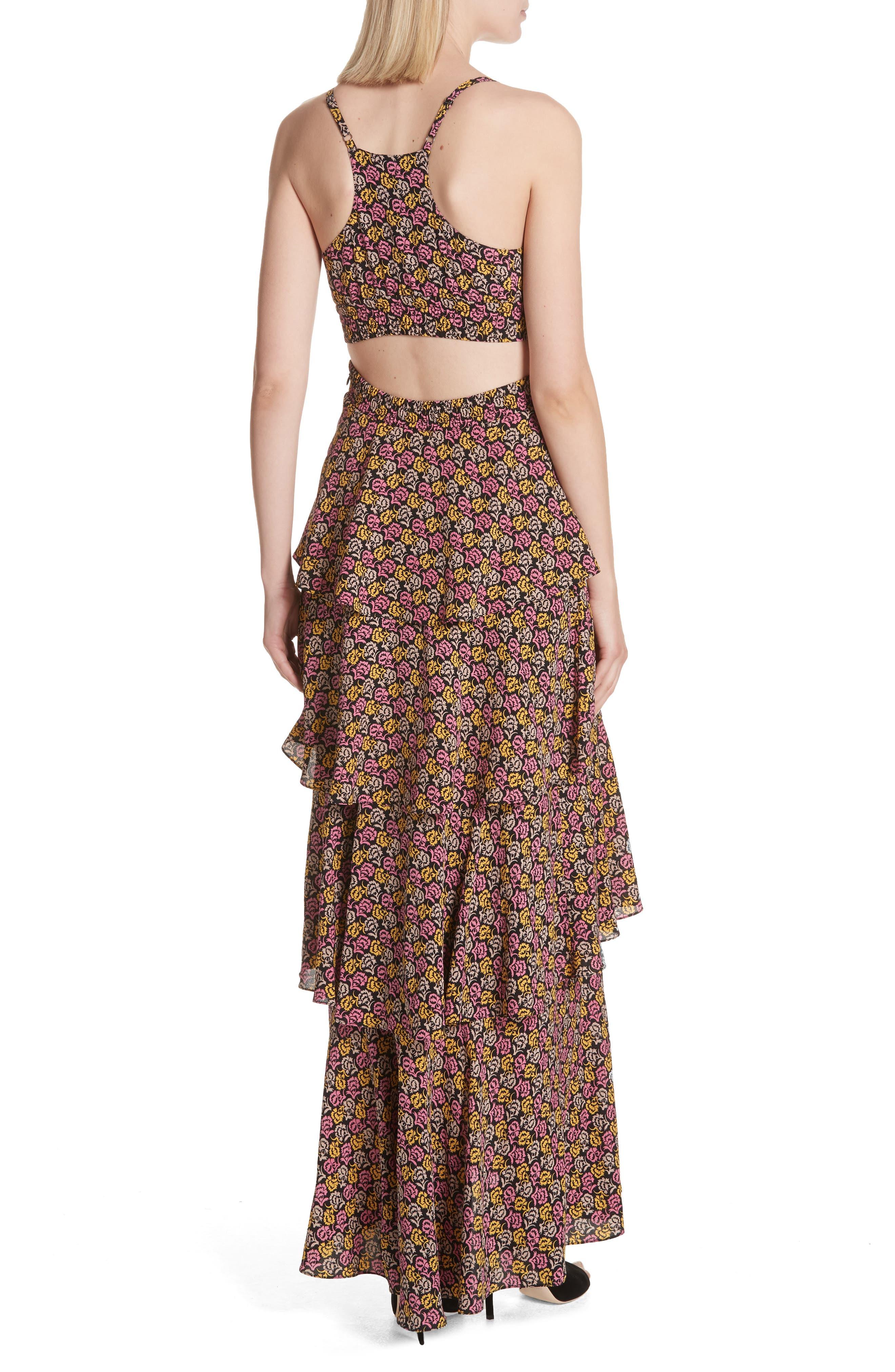 Titus Print Silk Tiered Maxi Dress,                             Alternate thumbnail 2, color,                             Pink Multi