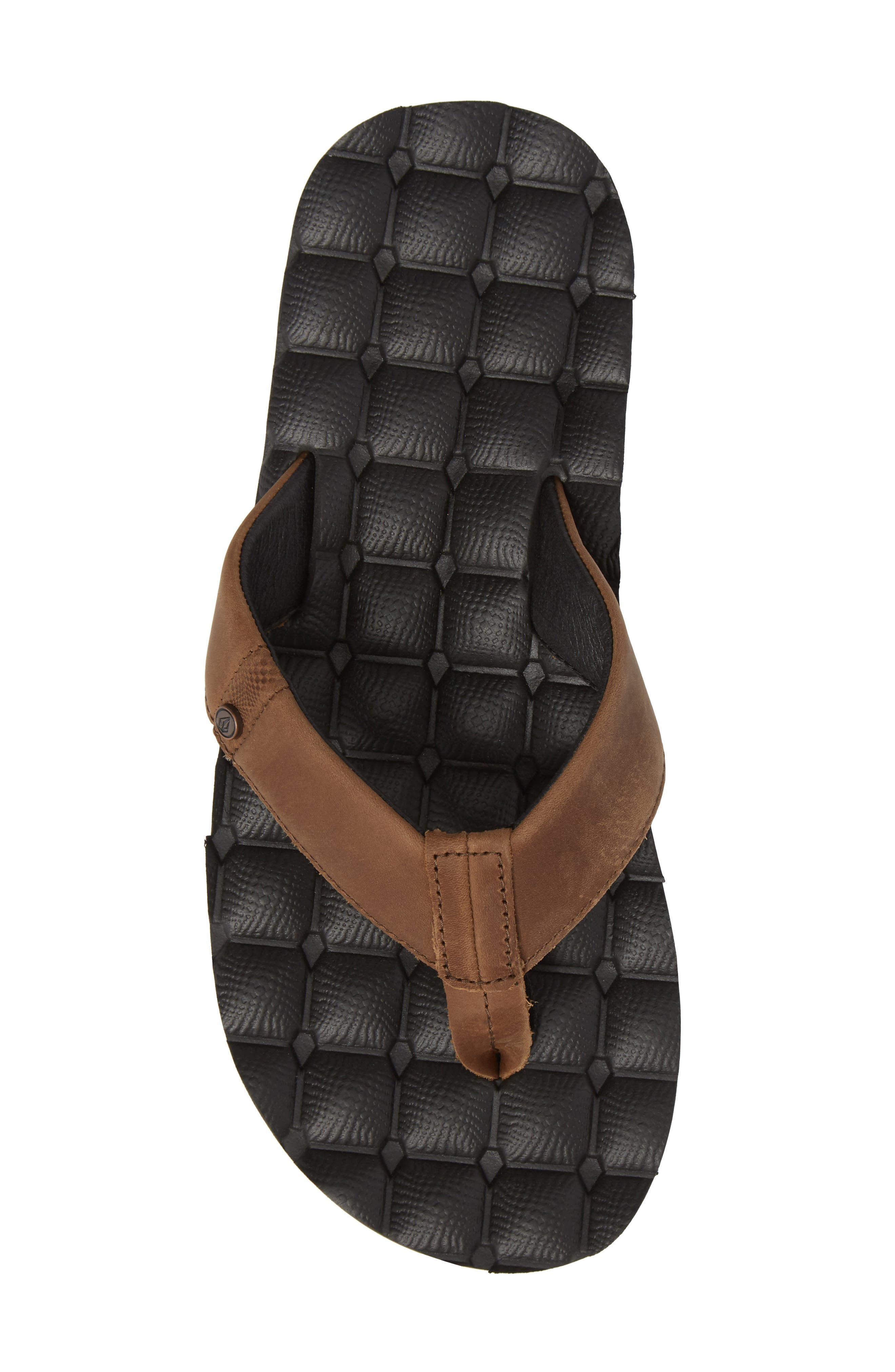 'Recliner' Leather Flip Flop,                             Alternate thumbnail 5, color,                             Brown Leather