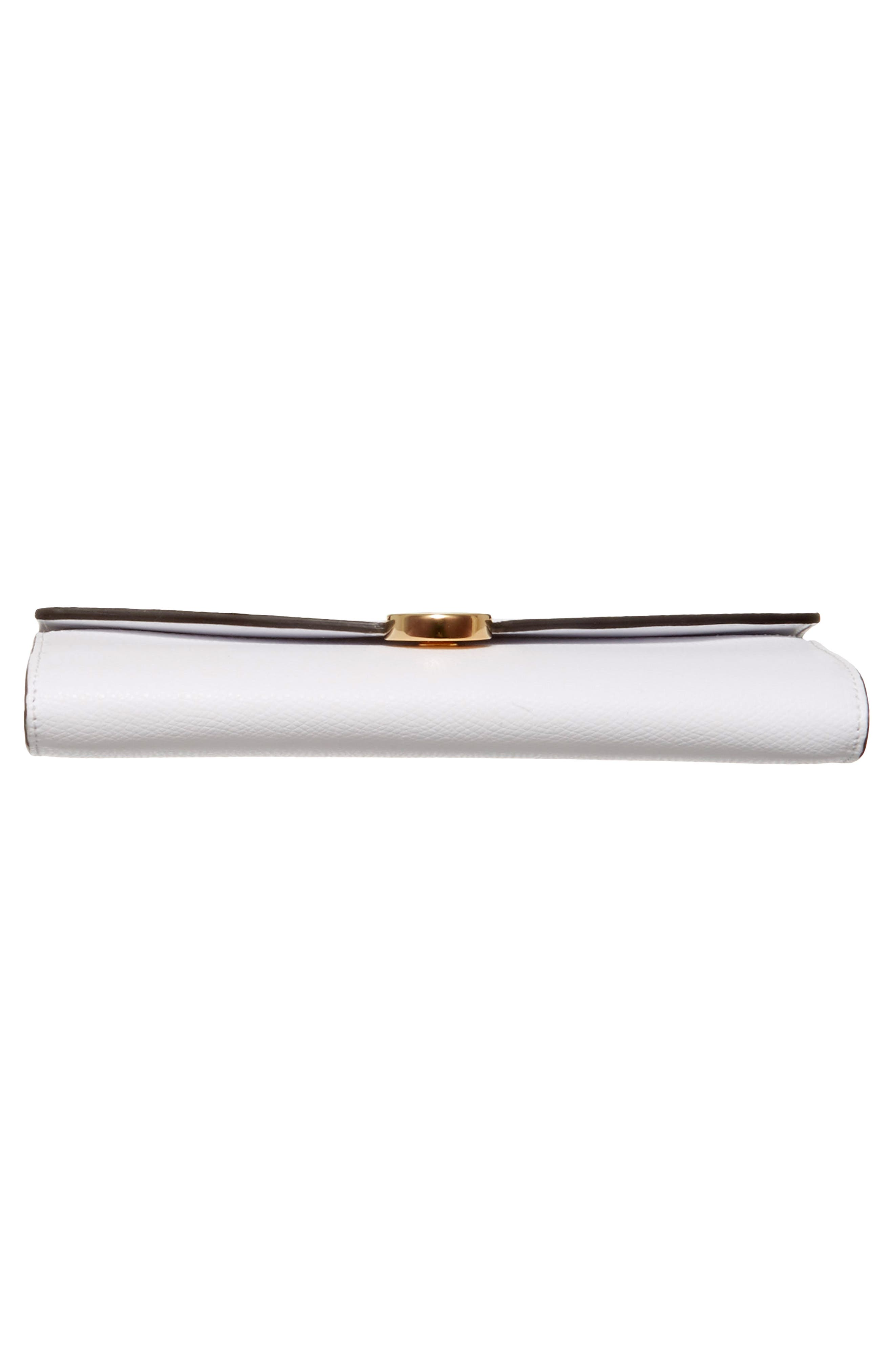 Logo Flap Leather Continental Wallet,                             Alternate thumbnail 6, color,                             White