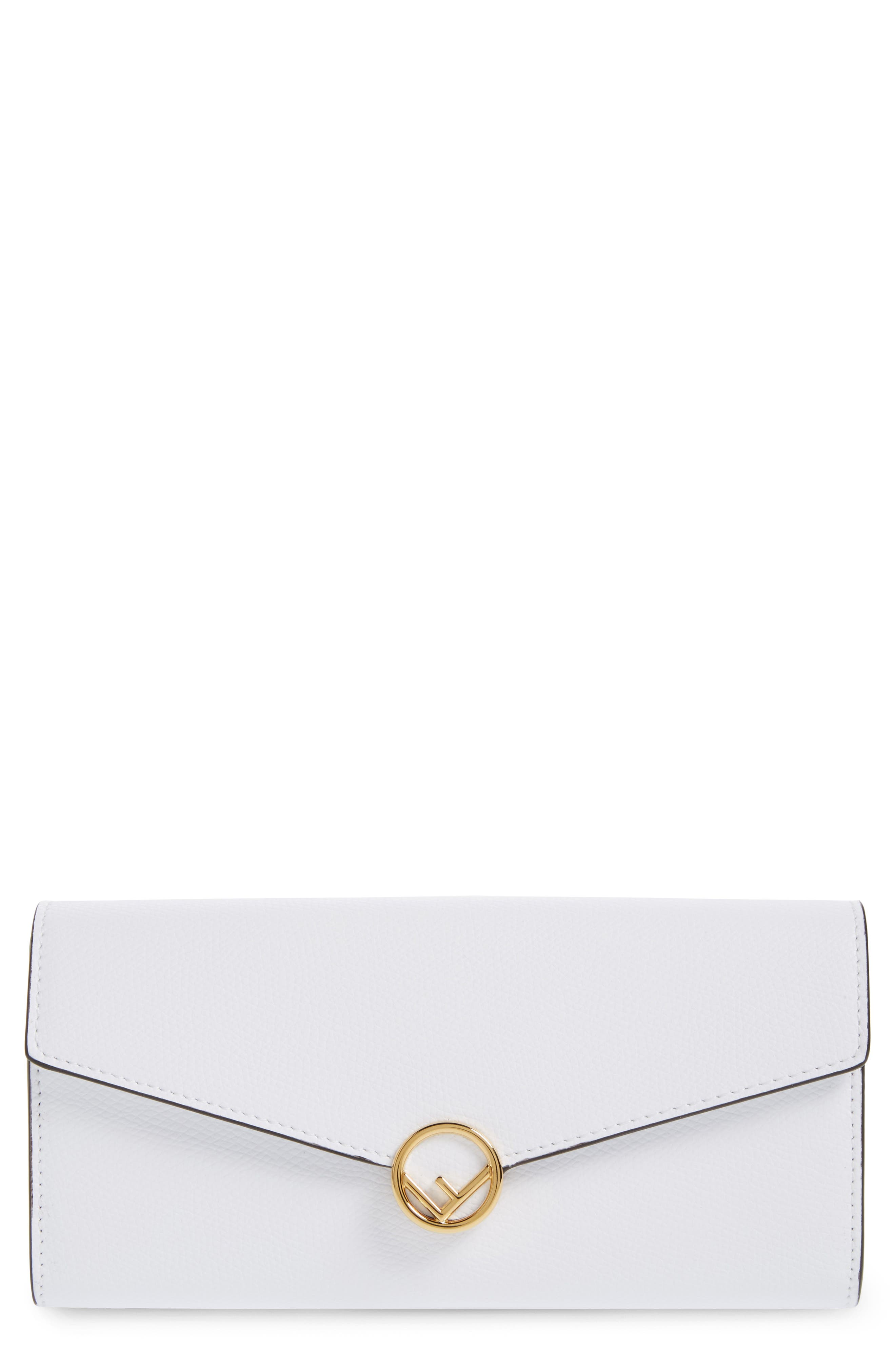 Logo Flap Leather Continental Wallet,                             Main thumbnail 1, color,                             White