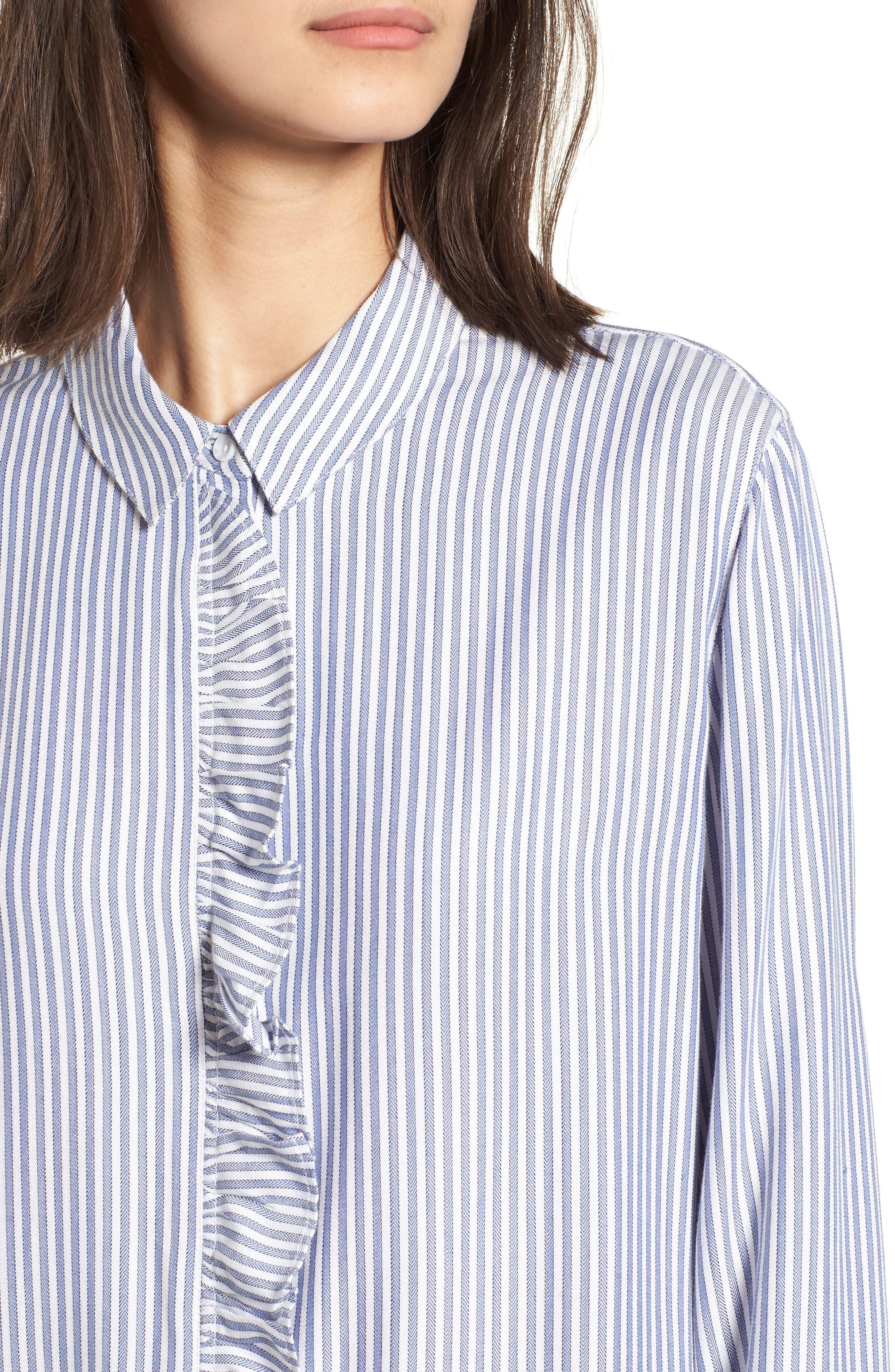 Stripe Ruffle Shirt,                             Alternate thumbnail 4, color,                             White Double Oxford Stripe