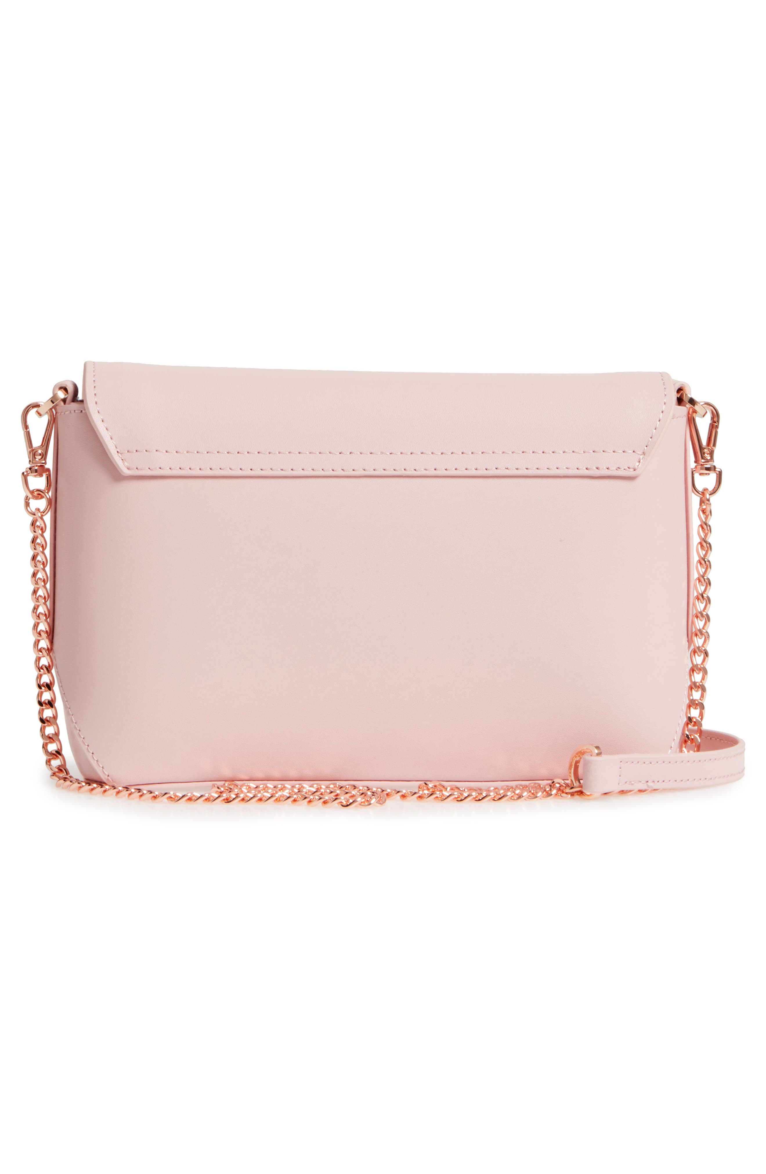 Bow Embossed Leather Crossbody Bag,                             Alternate thumbnail 3, color,                             Light Pink