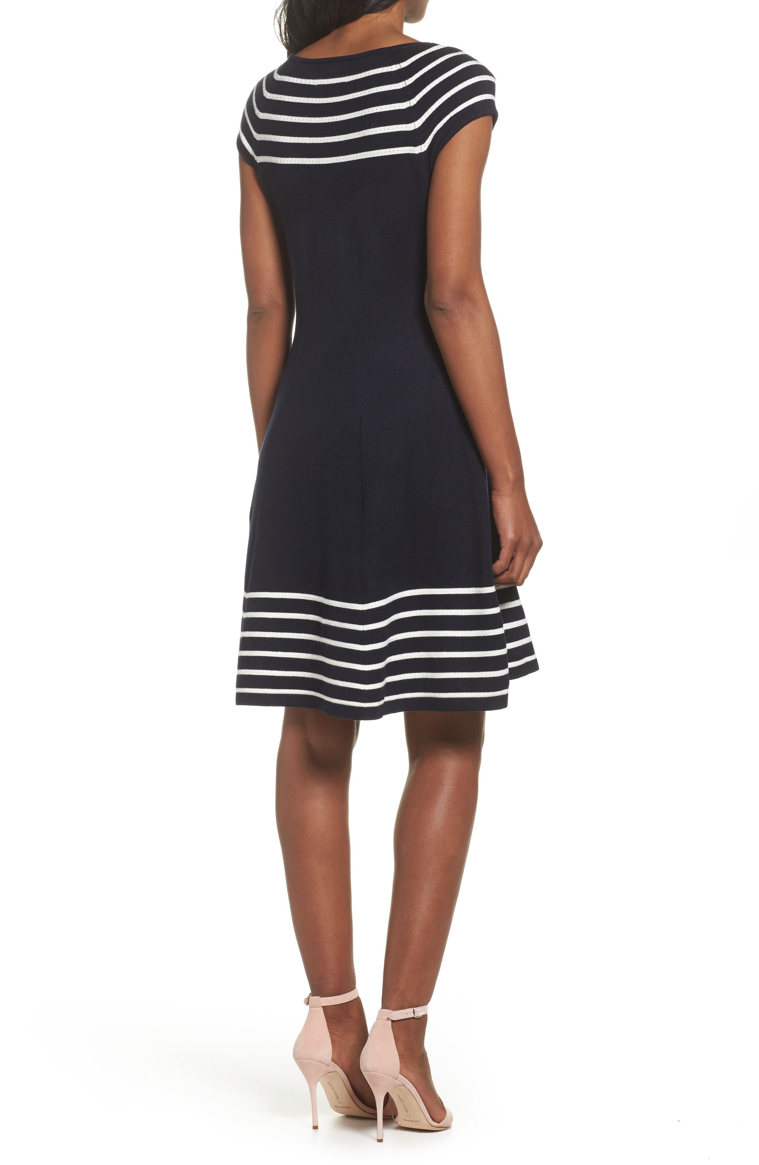 Stripe Knit Flared Dress,                             Alternate thumbnail 2, color,                             Ivory/ Navy