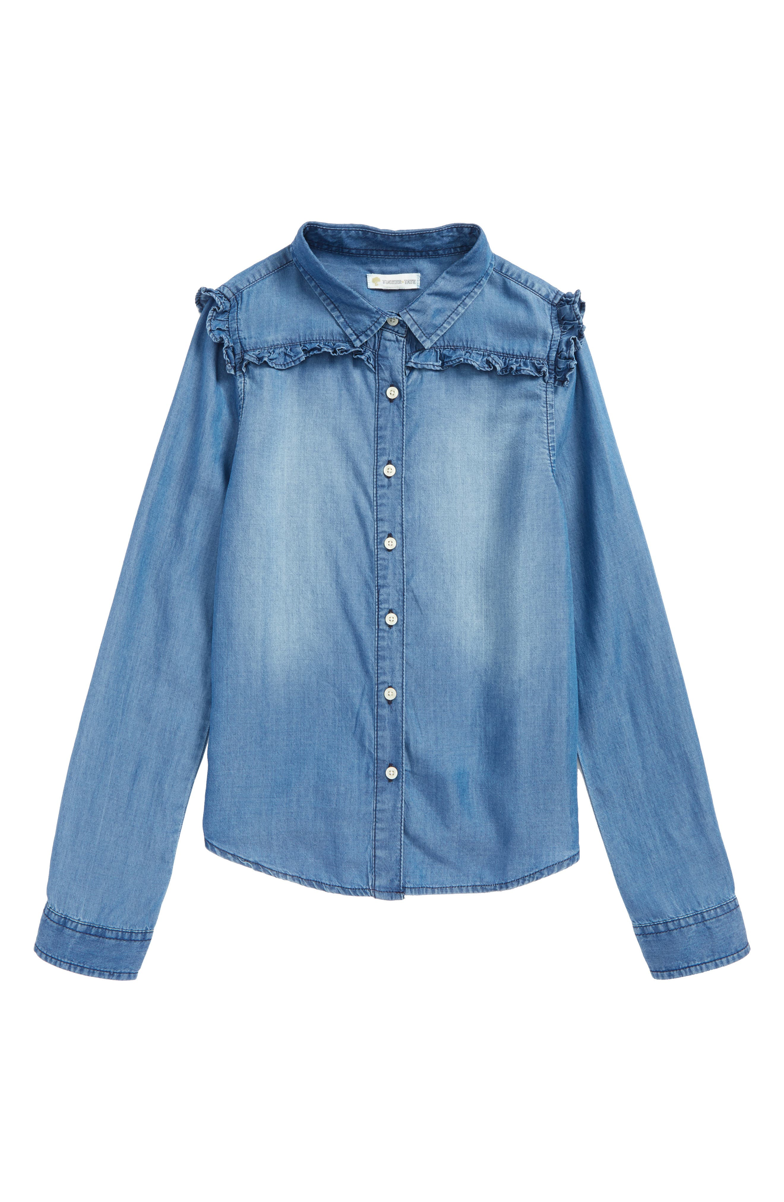 Ruffle Chambray Shirt,                             Main thumbnail 1, color,                             Medium Blue Wash