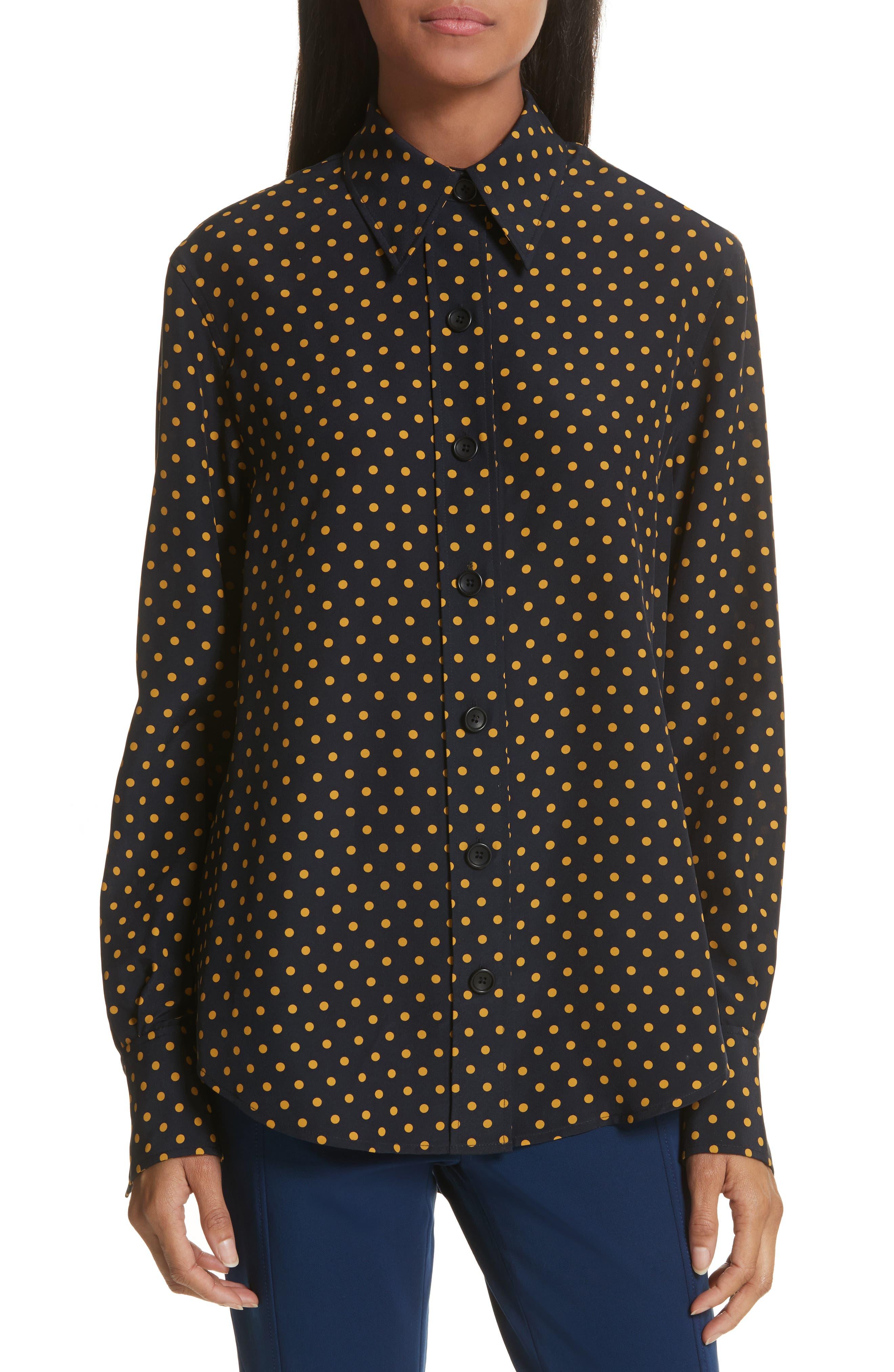 Garcon-Laura Dotted Silk Shirt,                         Main,                         color, Navy