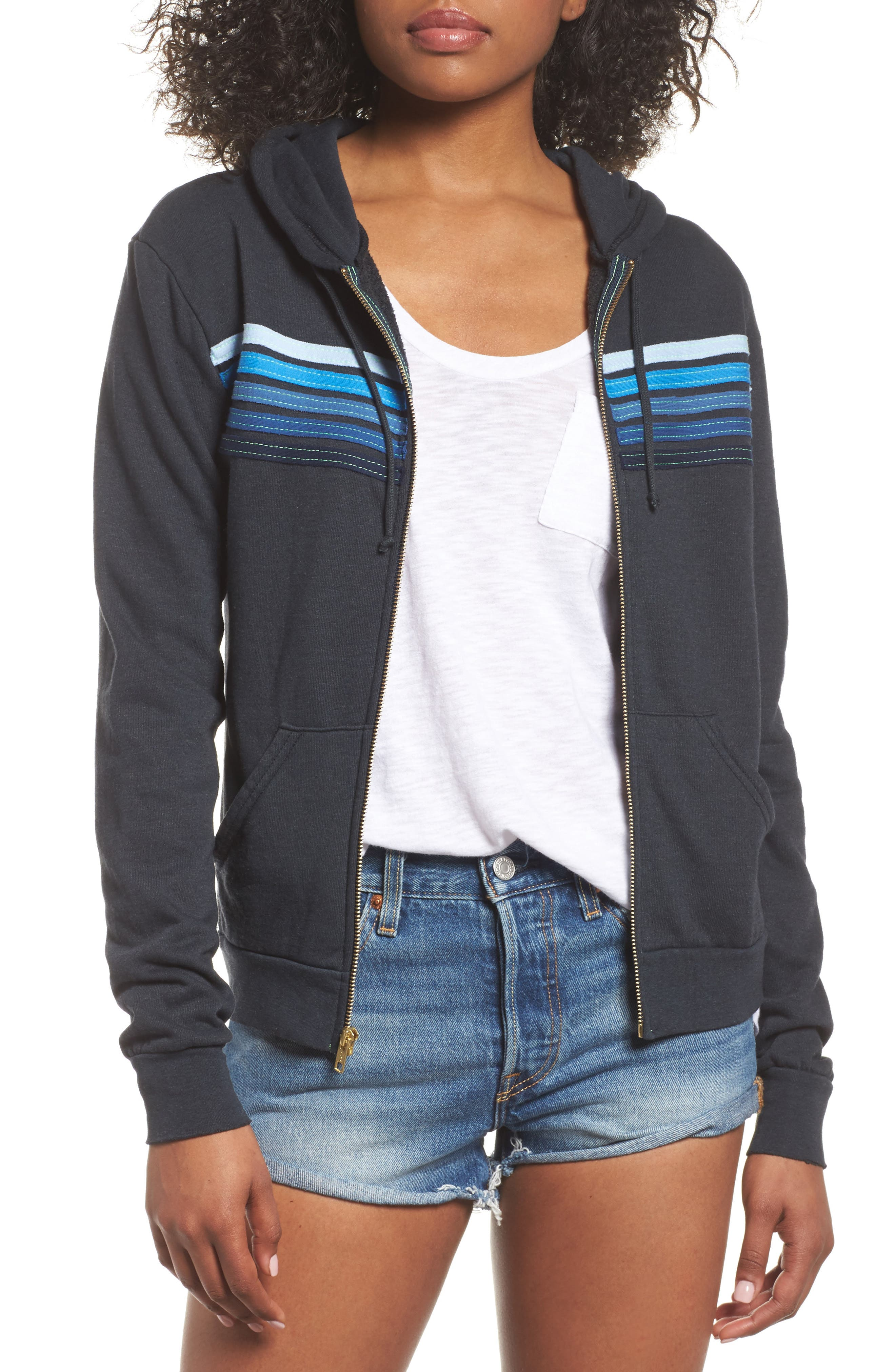 5-Stripe Zip Hoodie,                         Main,                         color, Charb