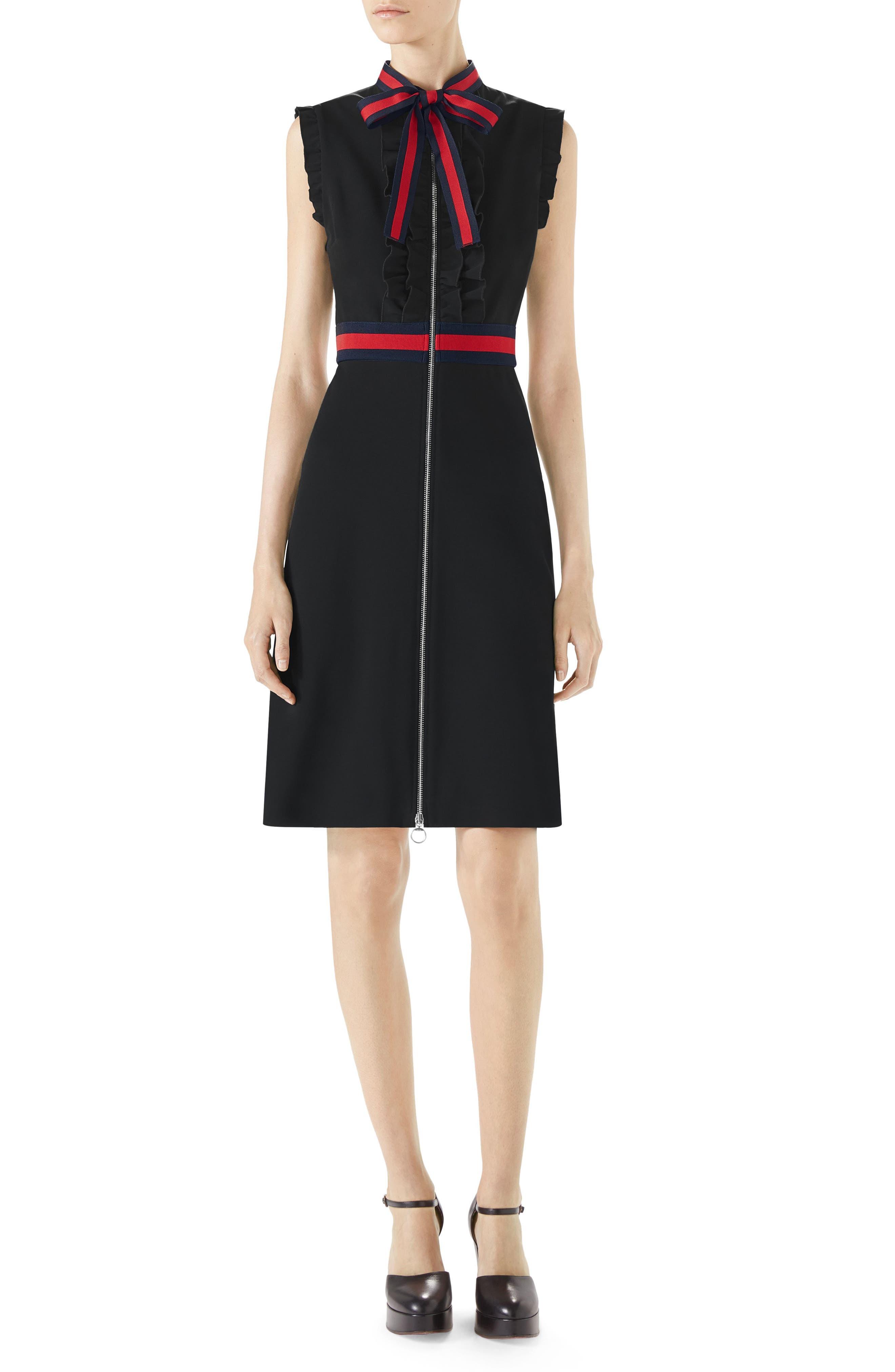 Stripe Trim Jersey Dress,                             Main thumbnail 1, color,                             Black