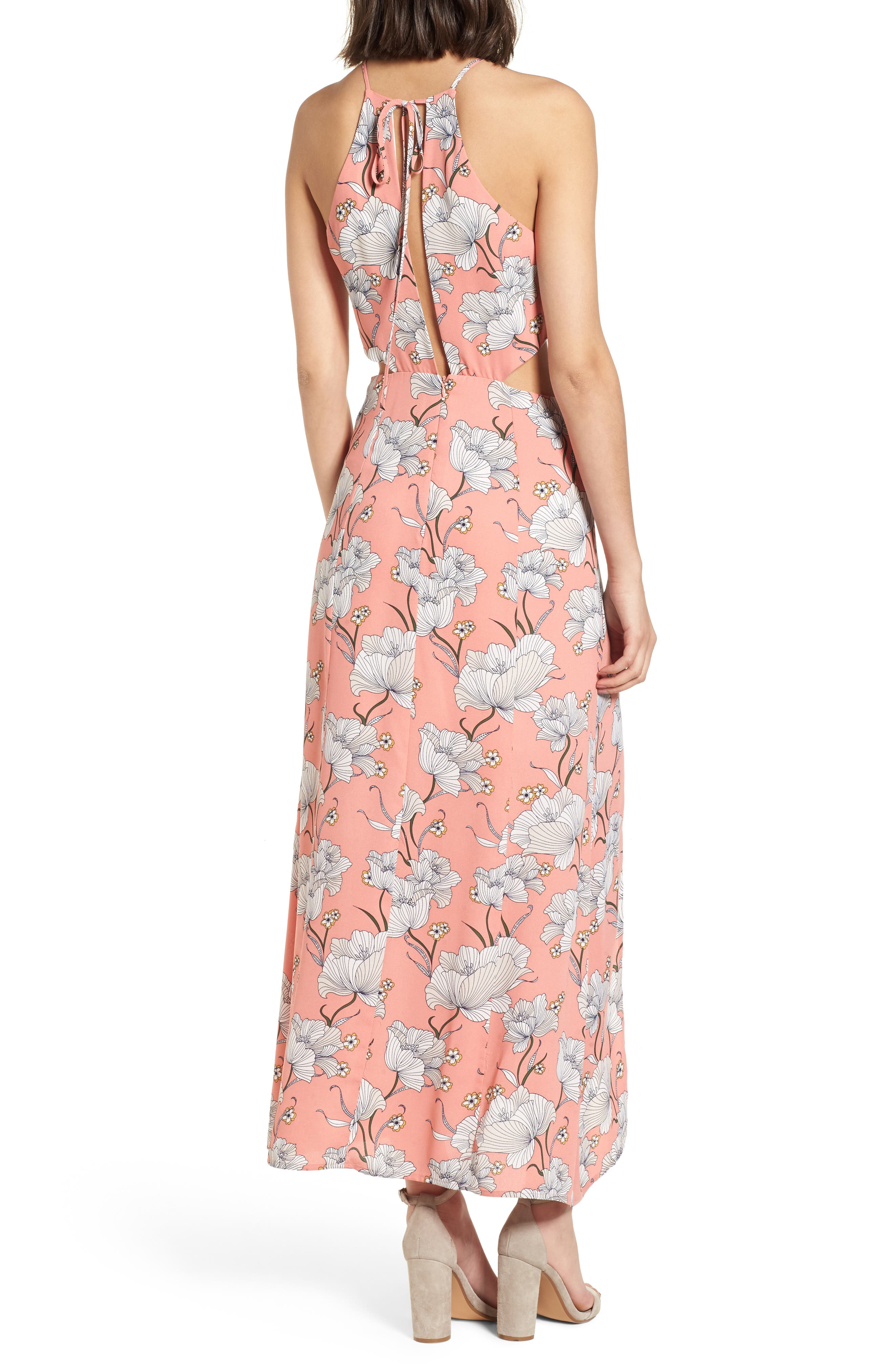 Floral Cutout Maxi Dress,                             Alternate thumbnail 2, color,                             Pink Floral
