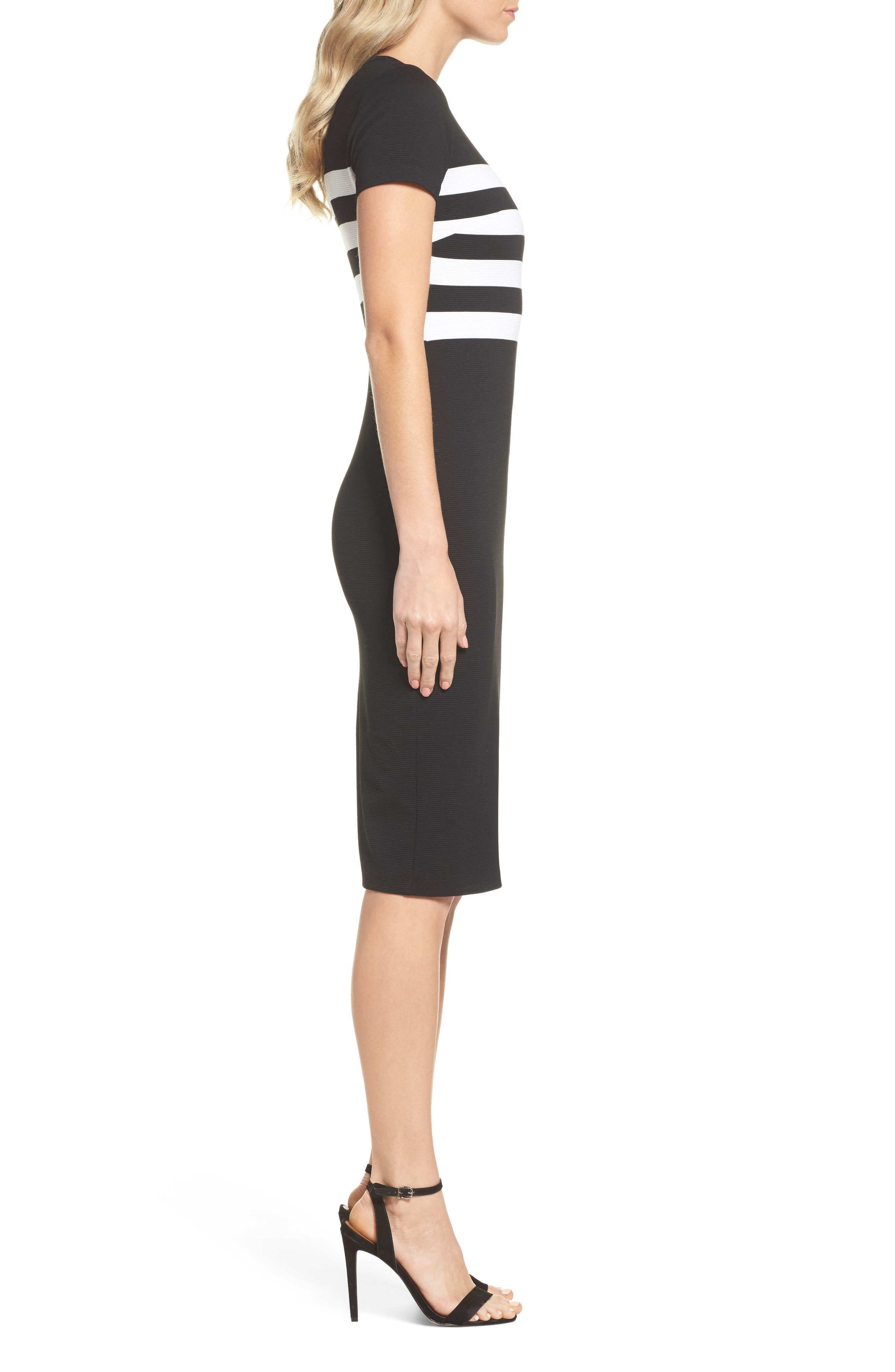 Stripe Ottoman Sheath Dress,                             Alternate thumbnail 3, color,                             Black/ White