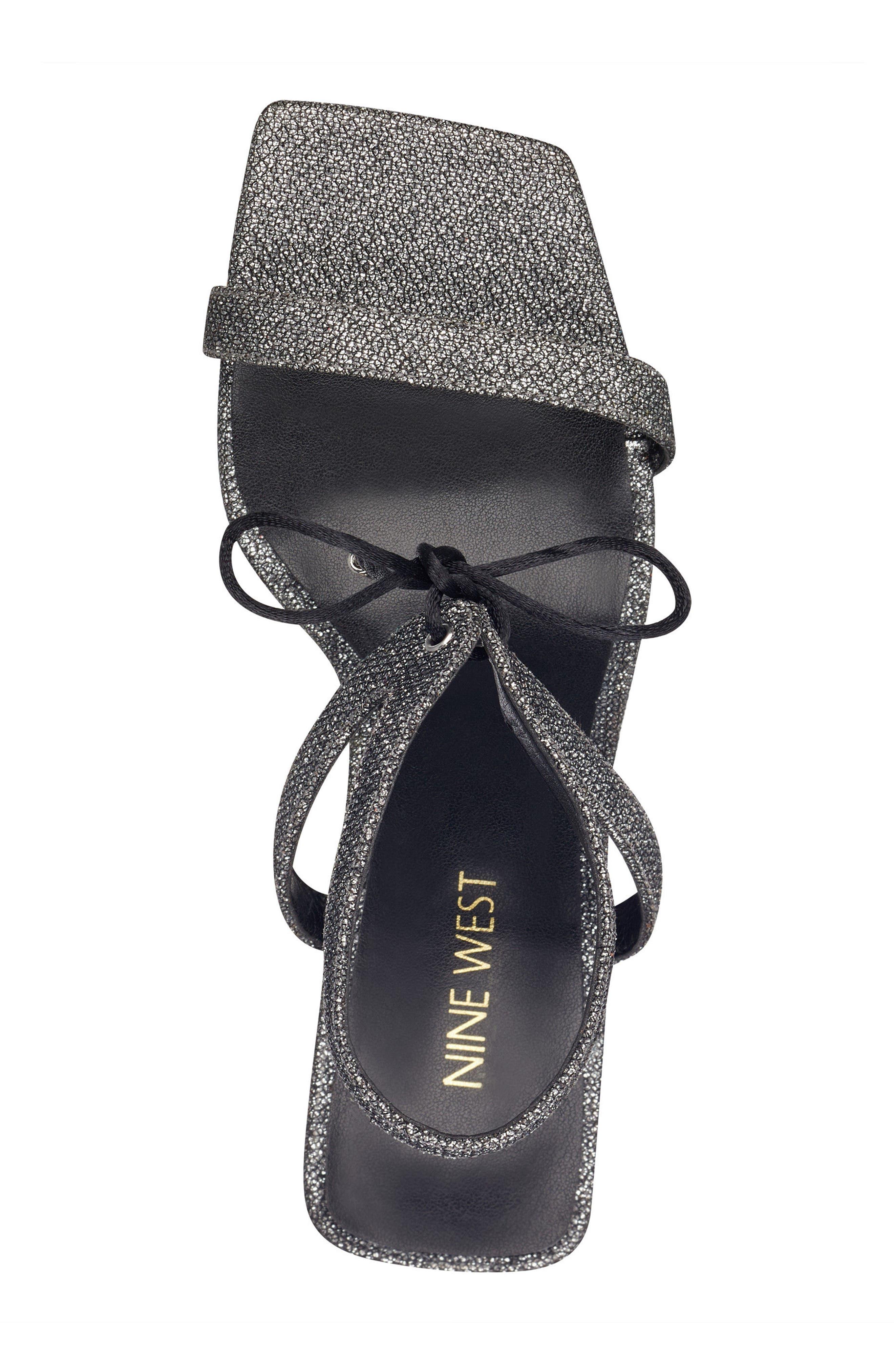 Longitano Squared Toe Sandal,                             Alternate thumbnail 5, color,                             Black/ Silver Fabric
