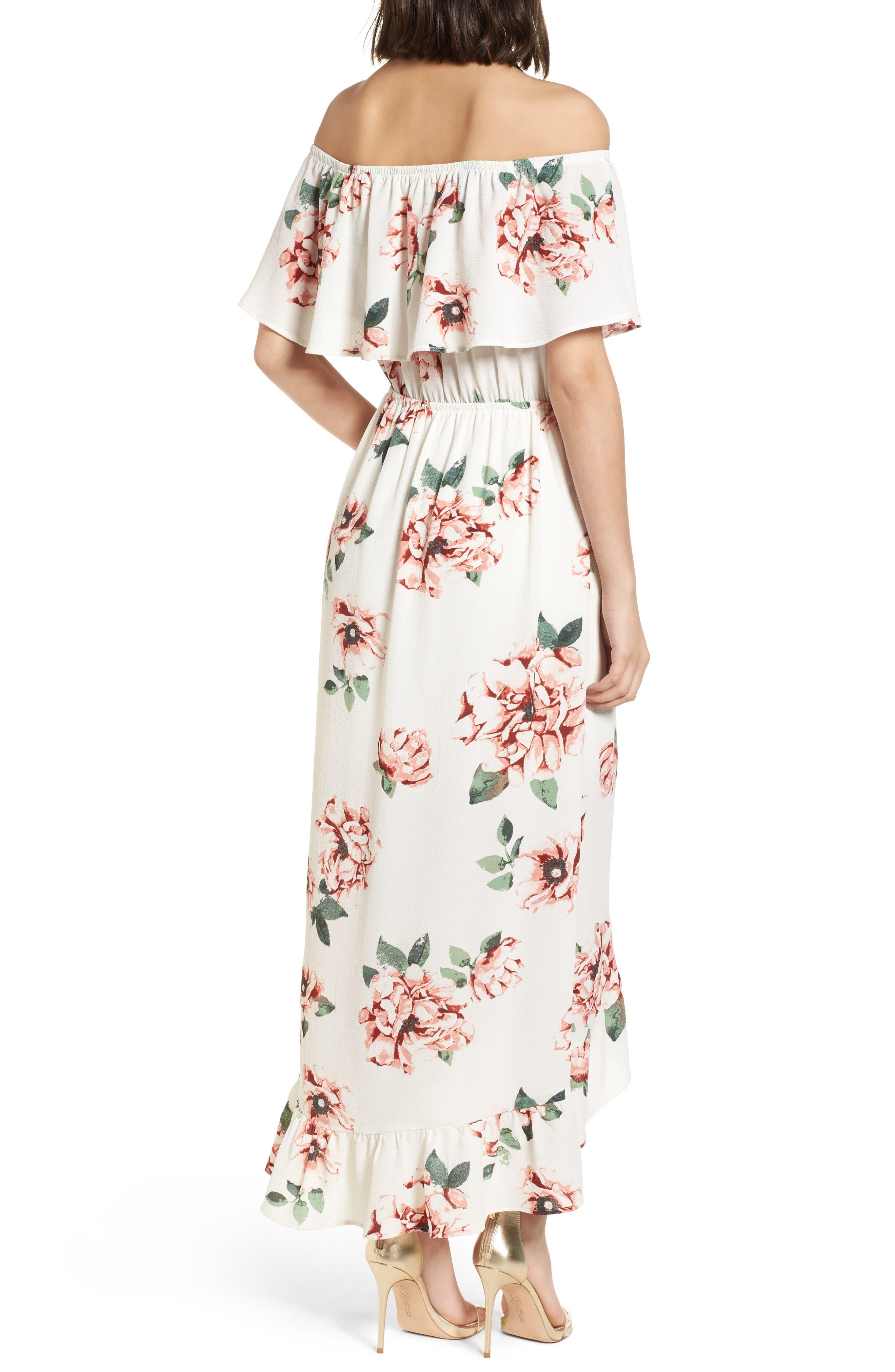 Off the Shoulder Maxi Dress,                             Alternate thumbnail 2, color,                             Ivory Floral