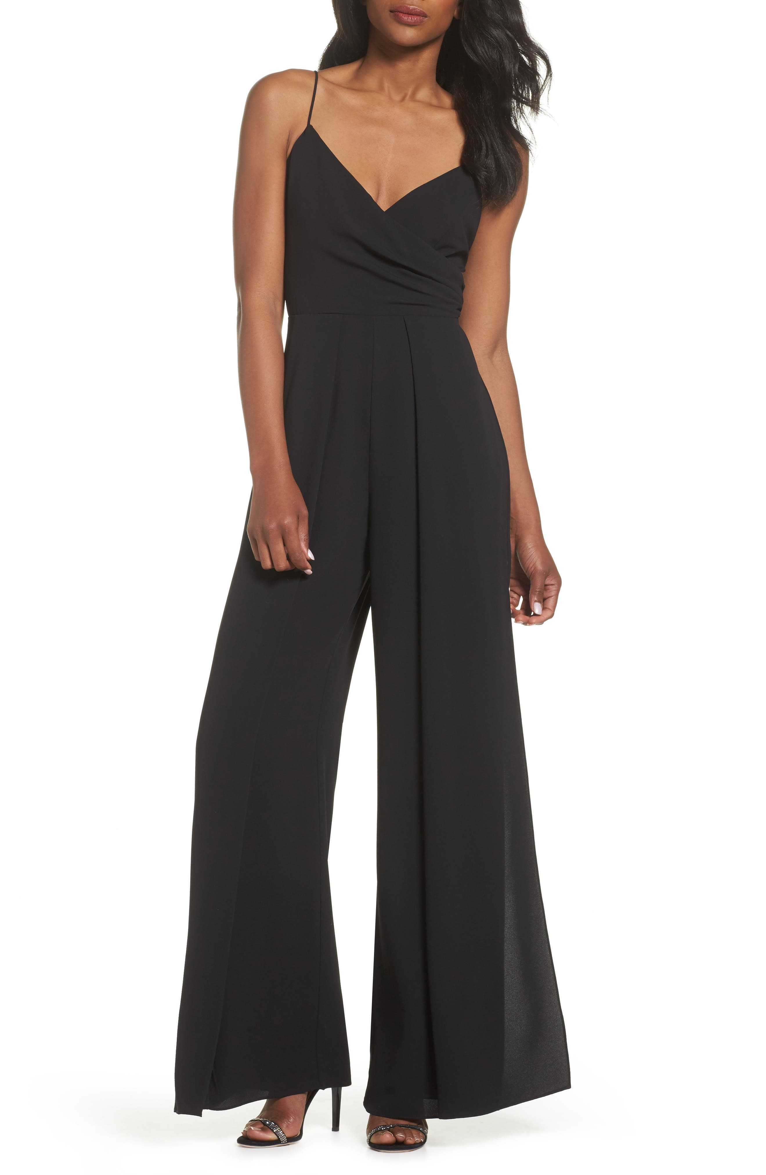 Crepe Wrap Bodice Jumpsuit,                         Main,                         color, Black