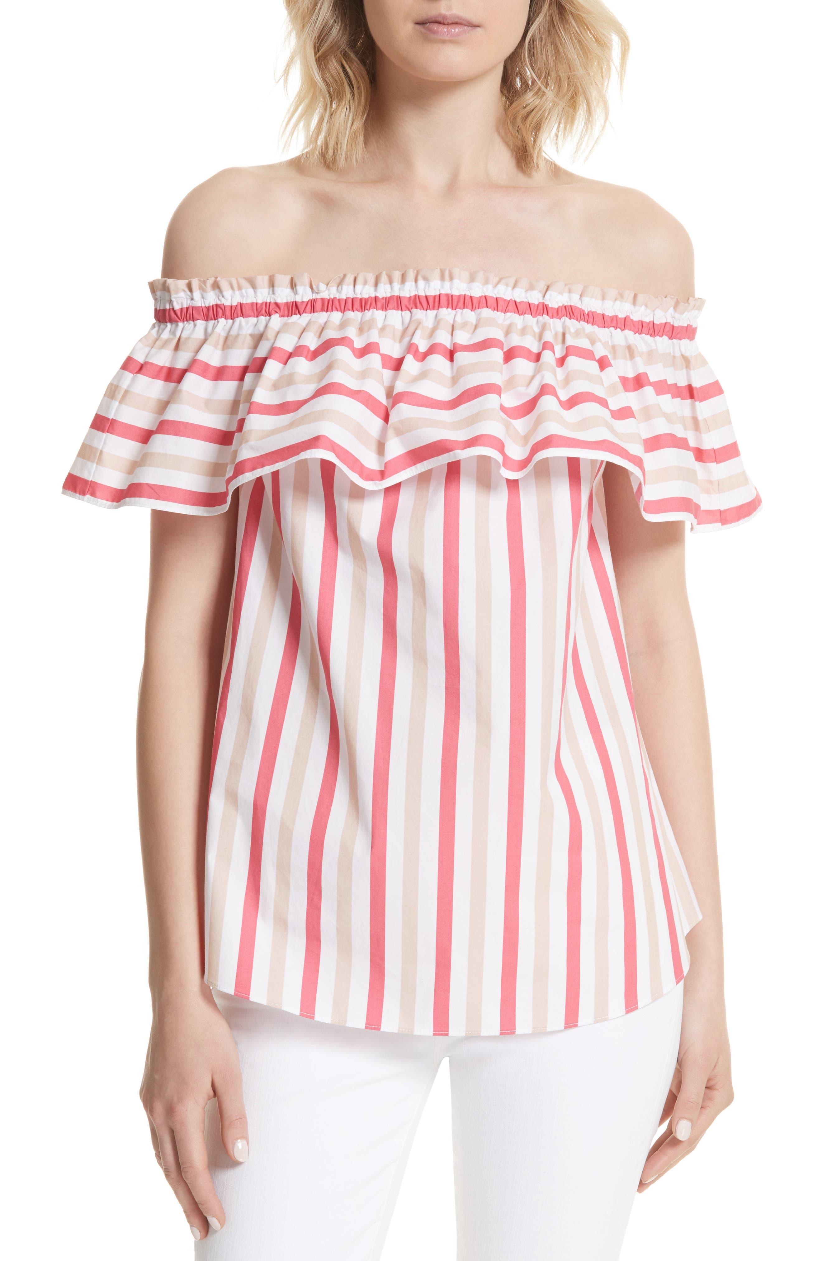 off the shoulder stripe top,                         Main,                         color, Peach Sherbet