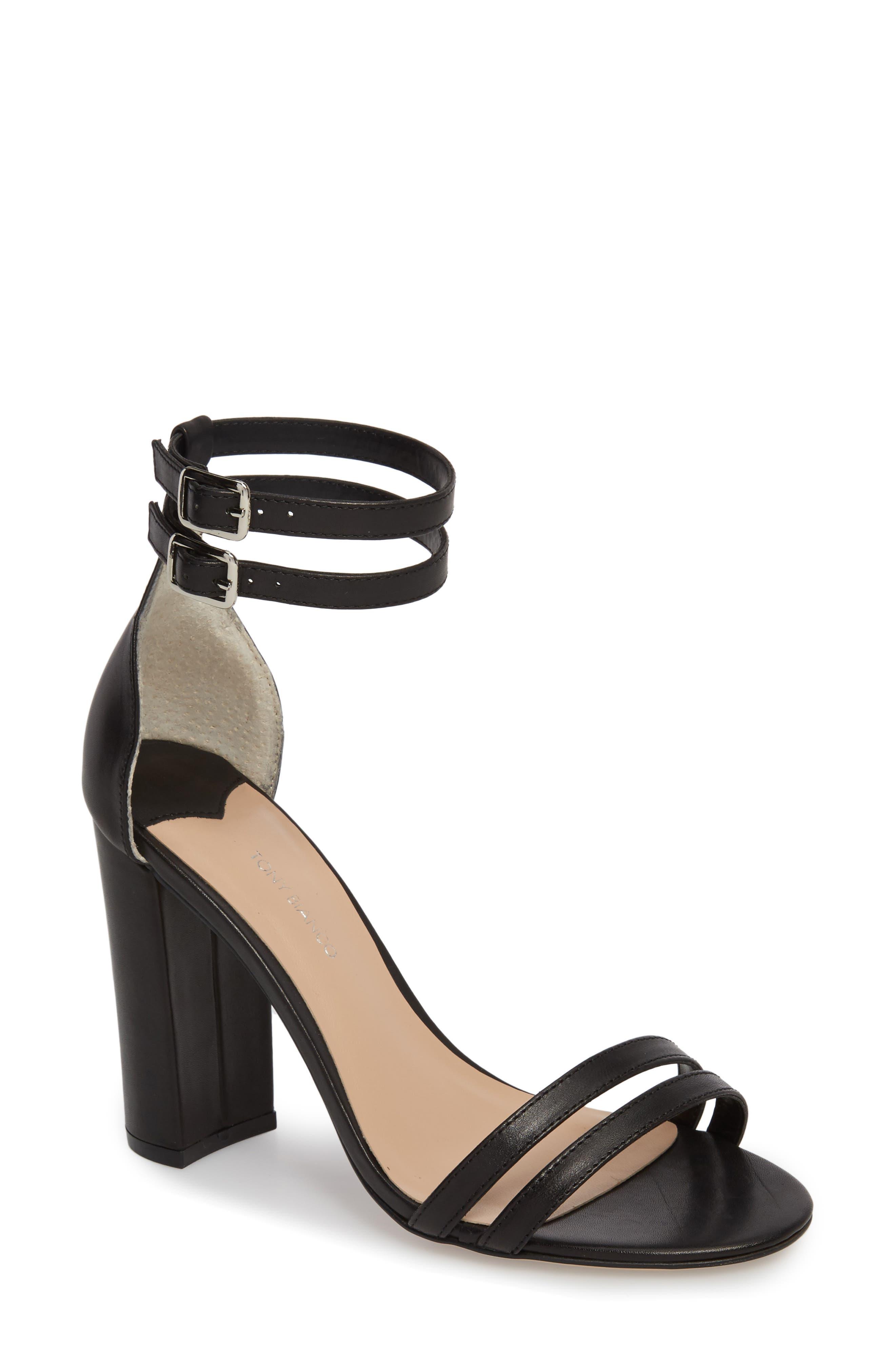 Kelly Block Heel Sandal,                             Main thumbnail 1, color,                             Black Monaco Leather