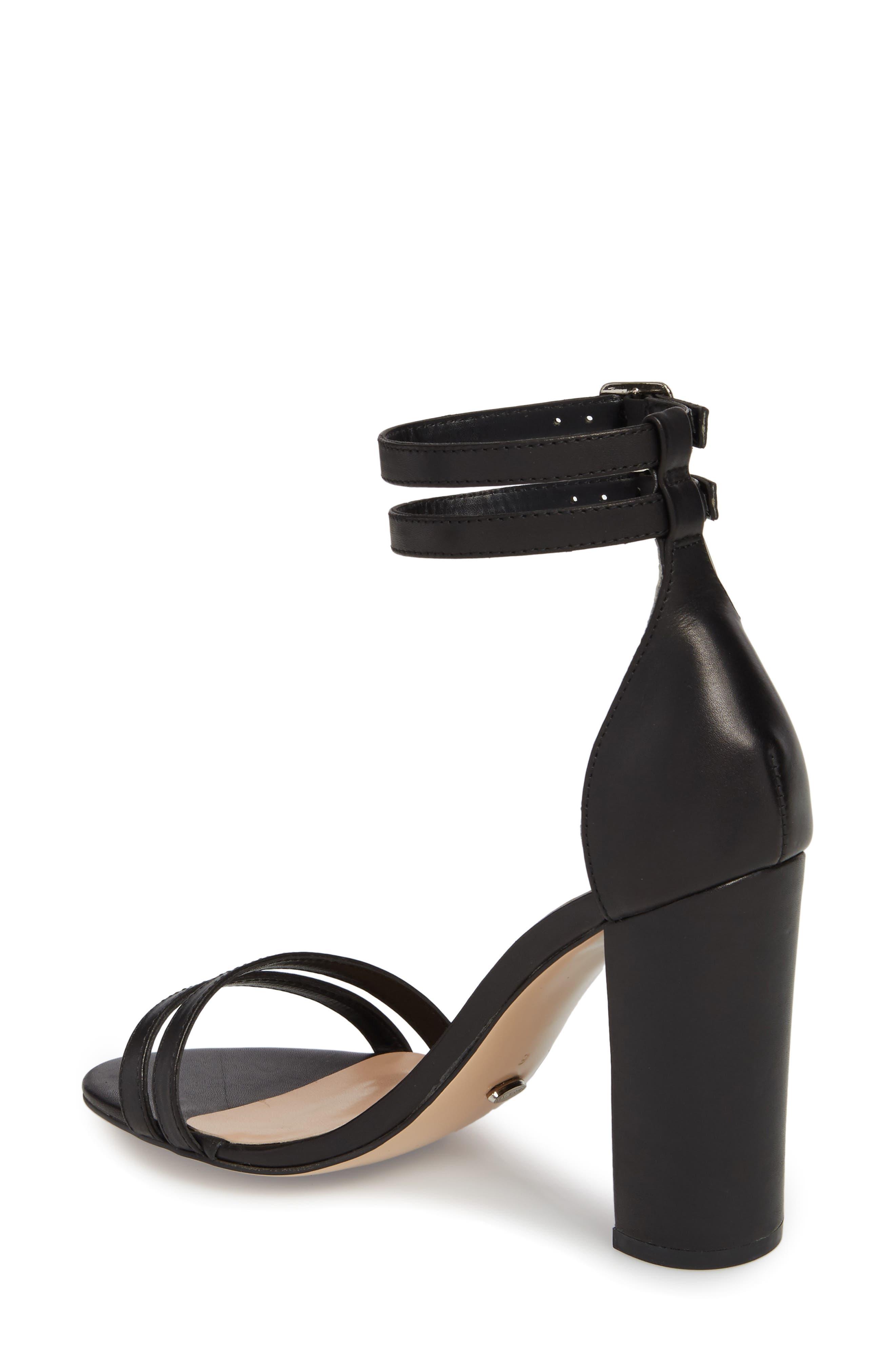 Kelly Block Heel Sandal,                             Alternate thumbnail 2, color,                             Black Monaco Leather