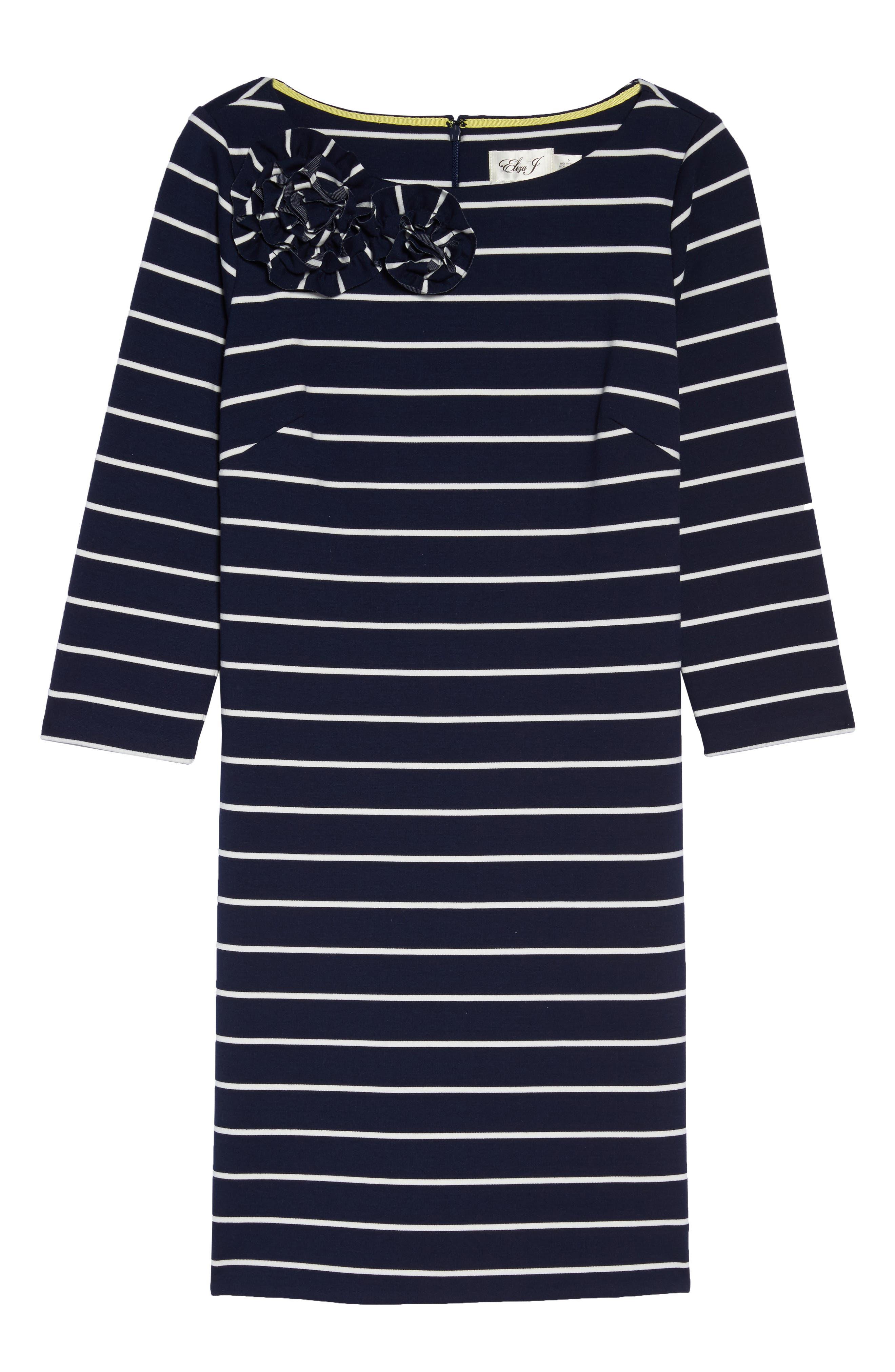 Stripe Flower Detail Shift Dress,                             Alternate thumbnail 6, color,                             Navy
