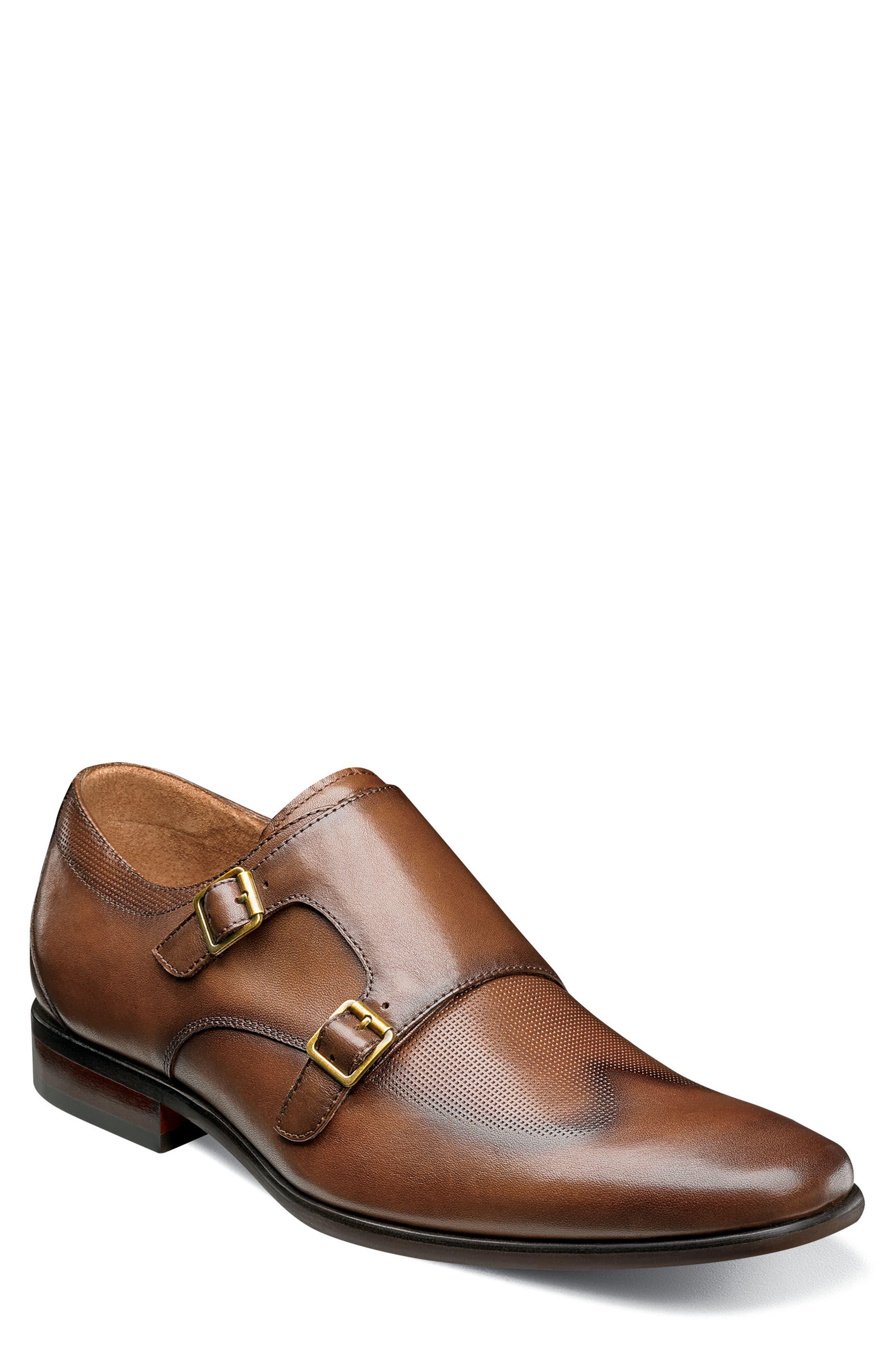 Postino Textured Double Strap Monk Shoe,                         Main,                         color, Cognac Leather