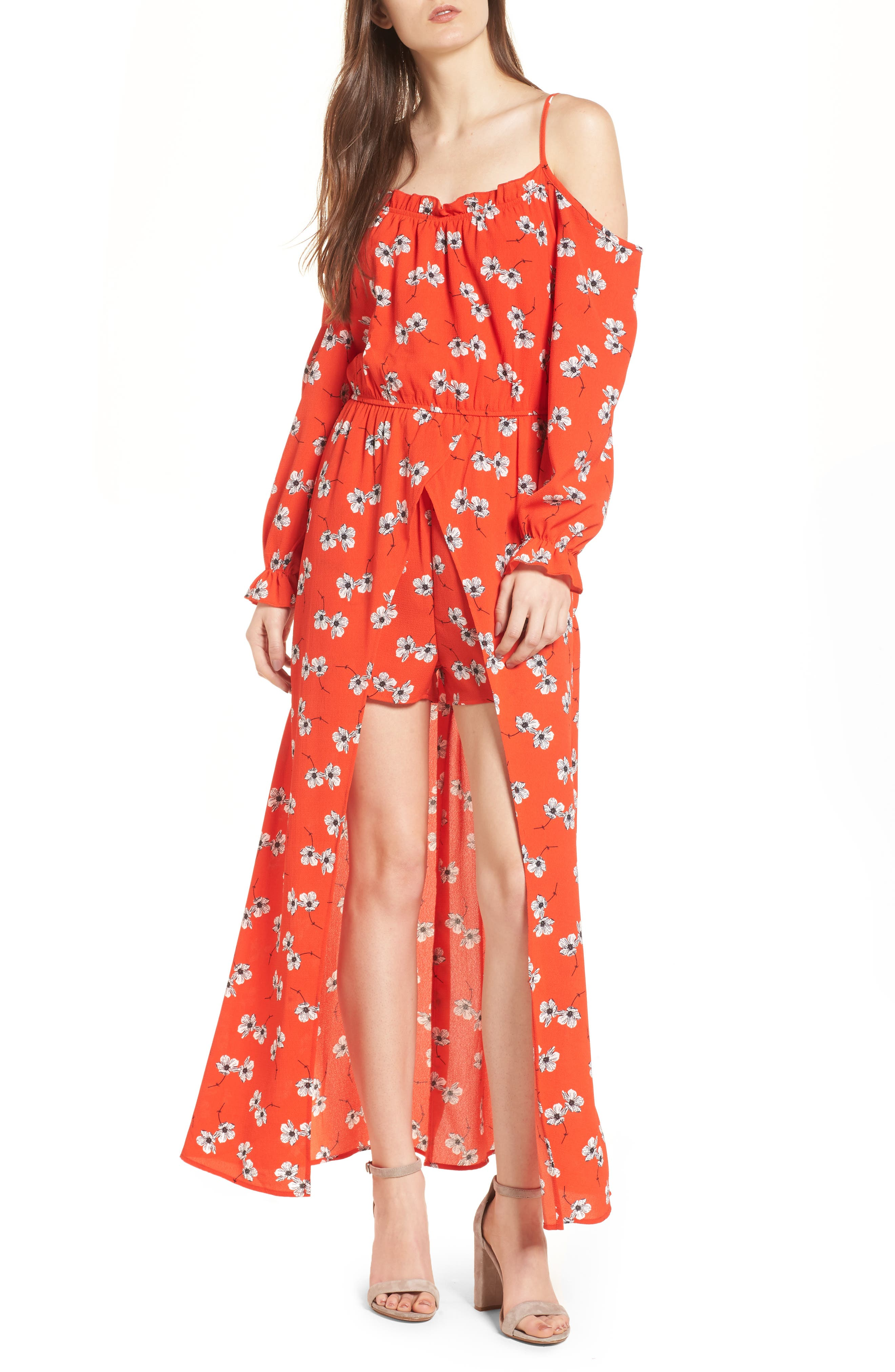 Main Image - Speechless Cold Shoulder Maxi Romper