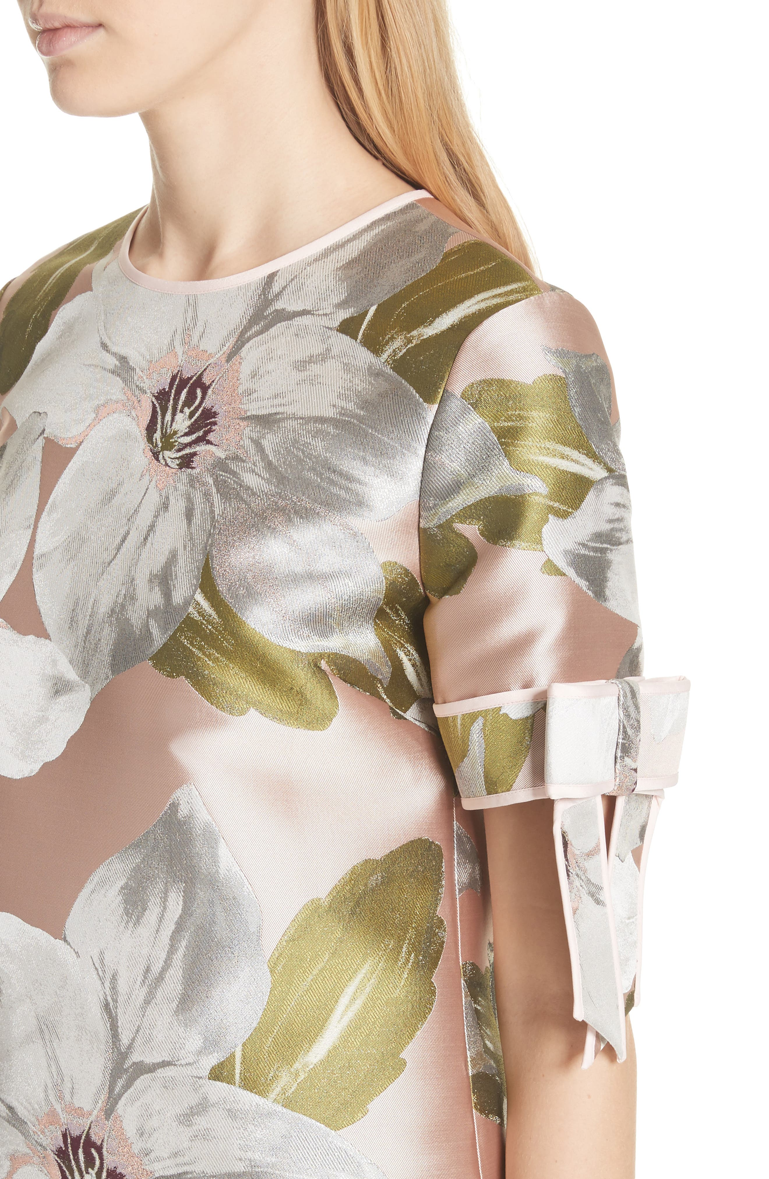 Chatsworth Bloom Bow Sleeve Top,                             Alternate thumbnail 4, color,                             Dusky Pink