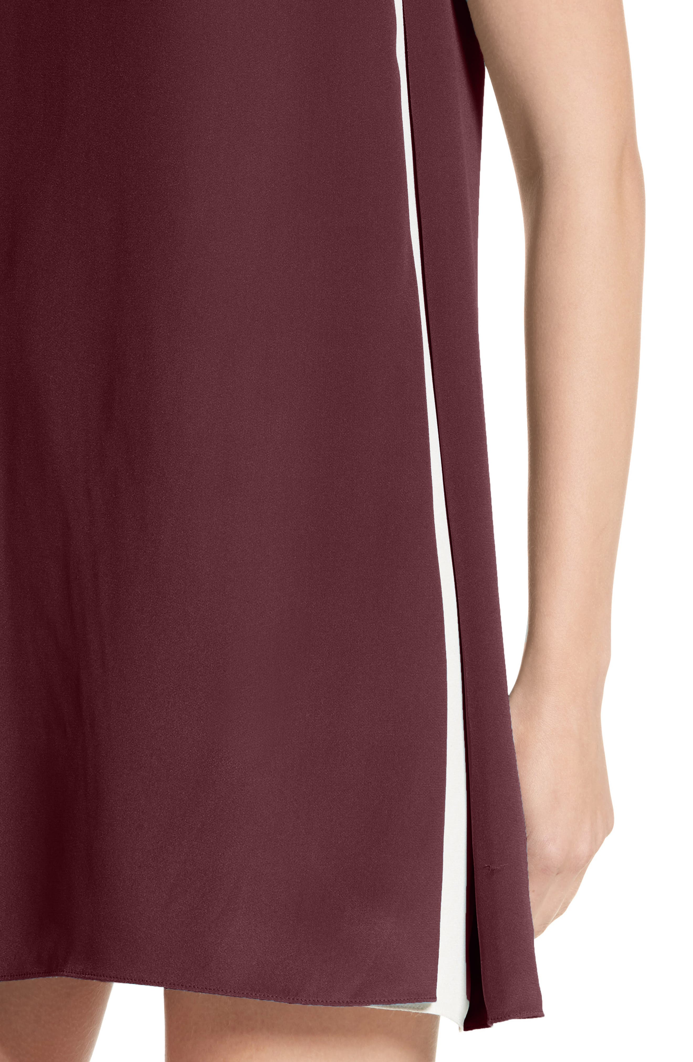 Silk Shift Dress,                             Alternate thumbnail 4, color,                             Burgundy / Ivory