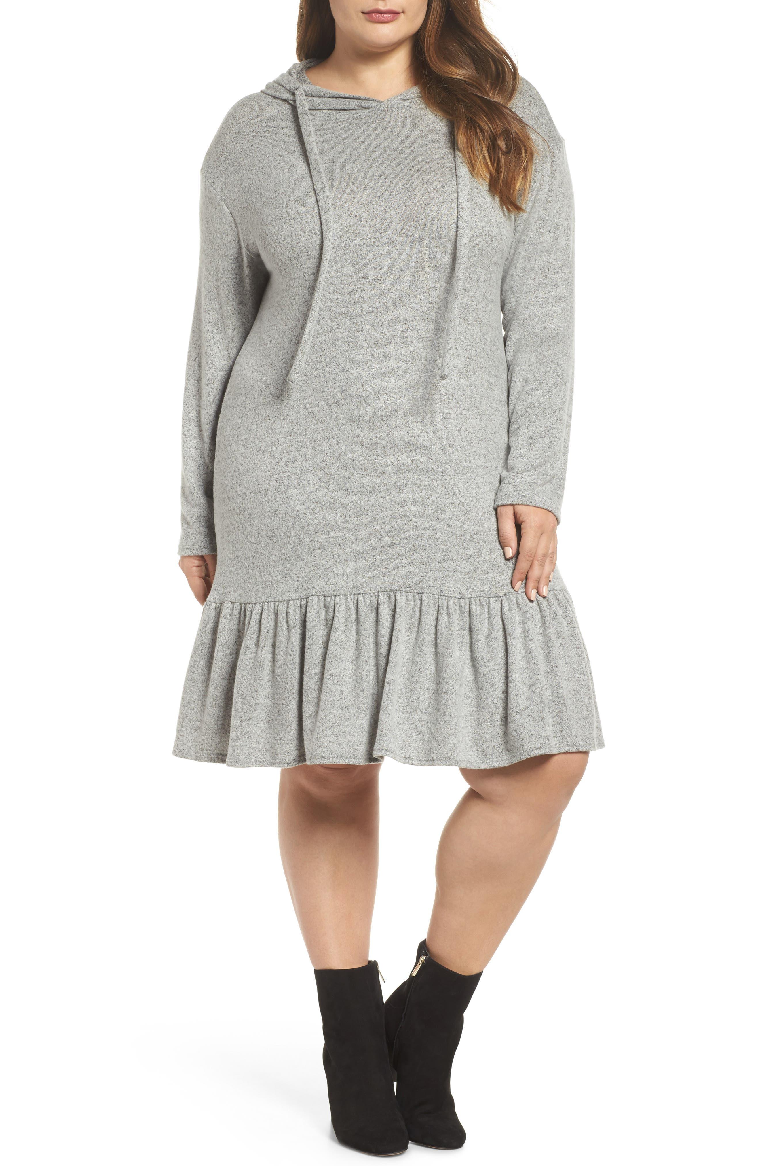 Caslon® Peplum Hem Hoodie Dress (Plus Size)