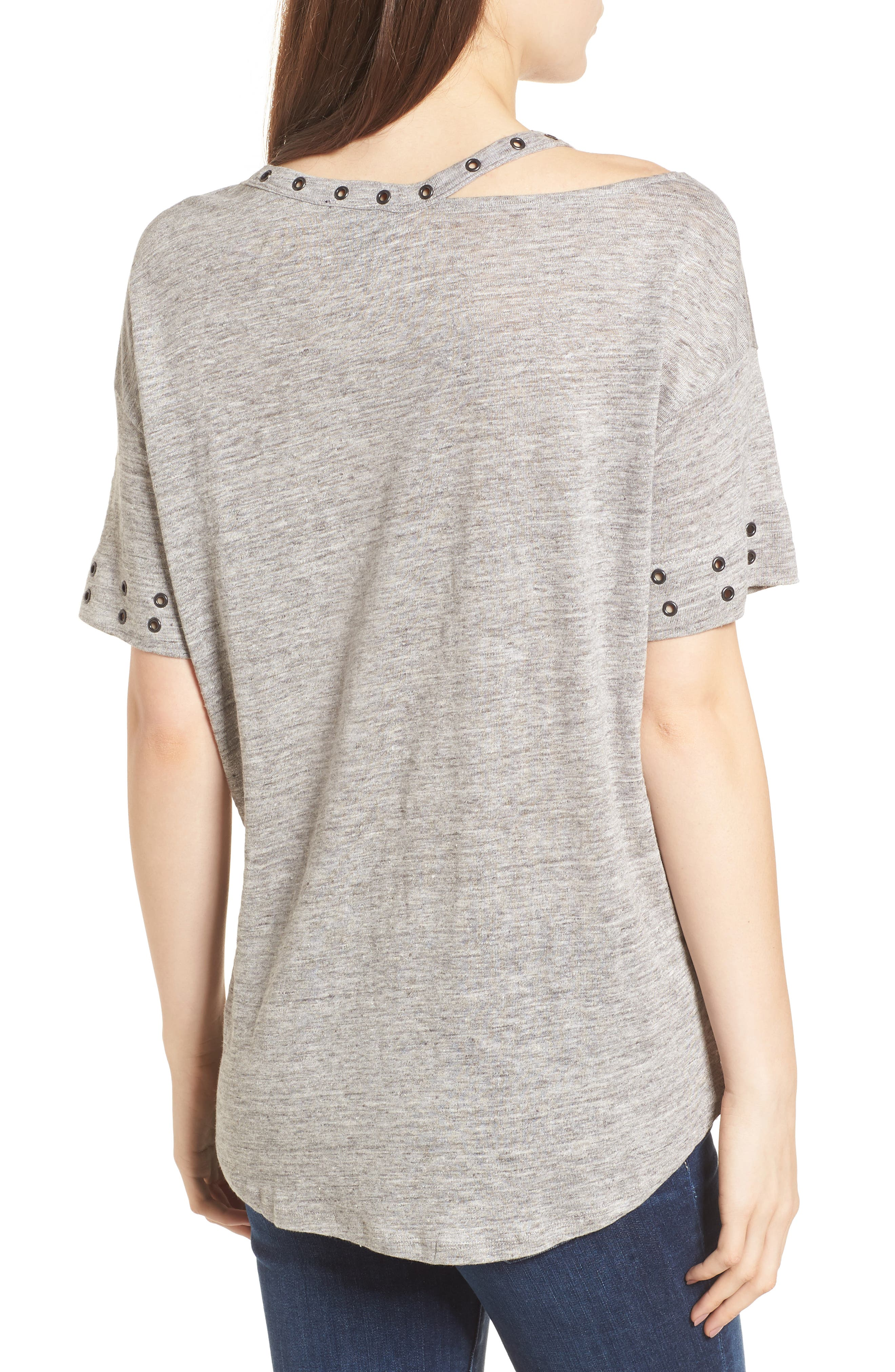 Shanni Grommet Tee,                             Alternate thumbnail 2, color,                             Heather Grey