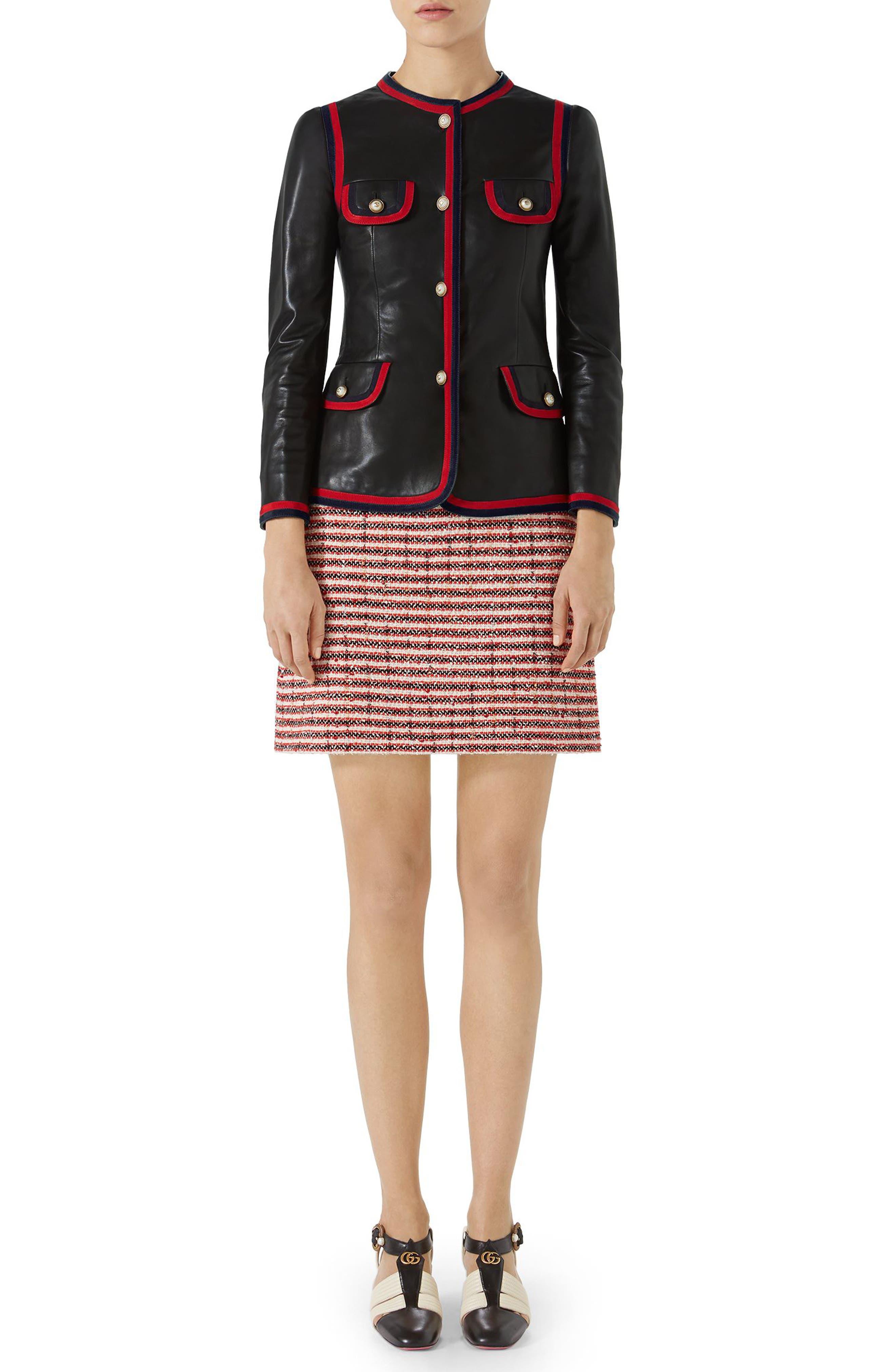 Ribbon Trim Nappa Leather Jacket,                             Alternate thumbnail 5, color,                             Black