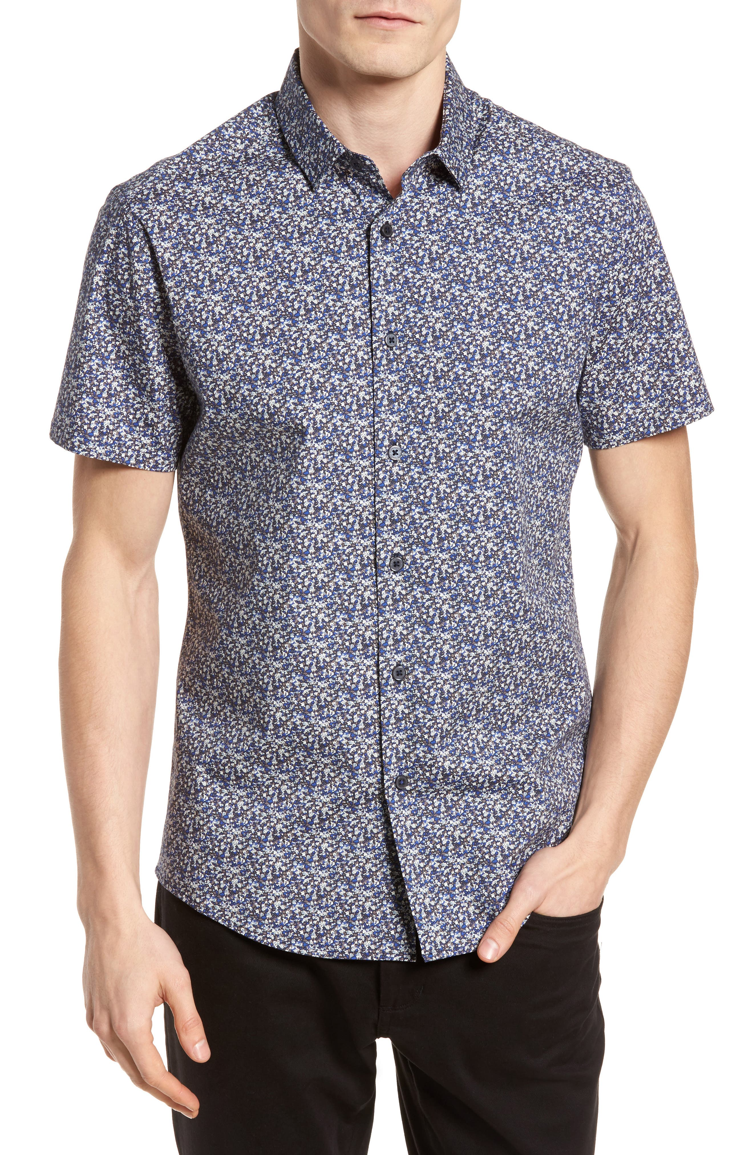 Slim Fit Print Sport Shirt,                             Main thumbnail 1, color,                             Blue Abstract Floral