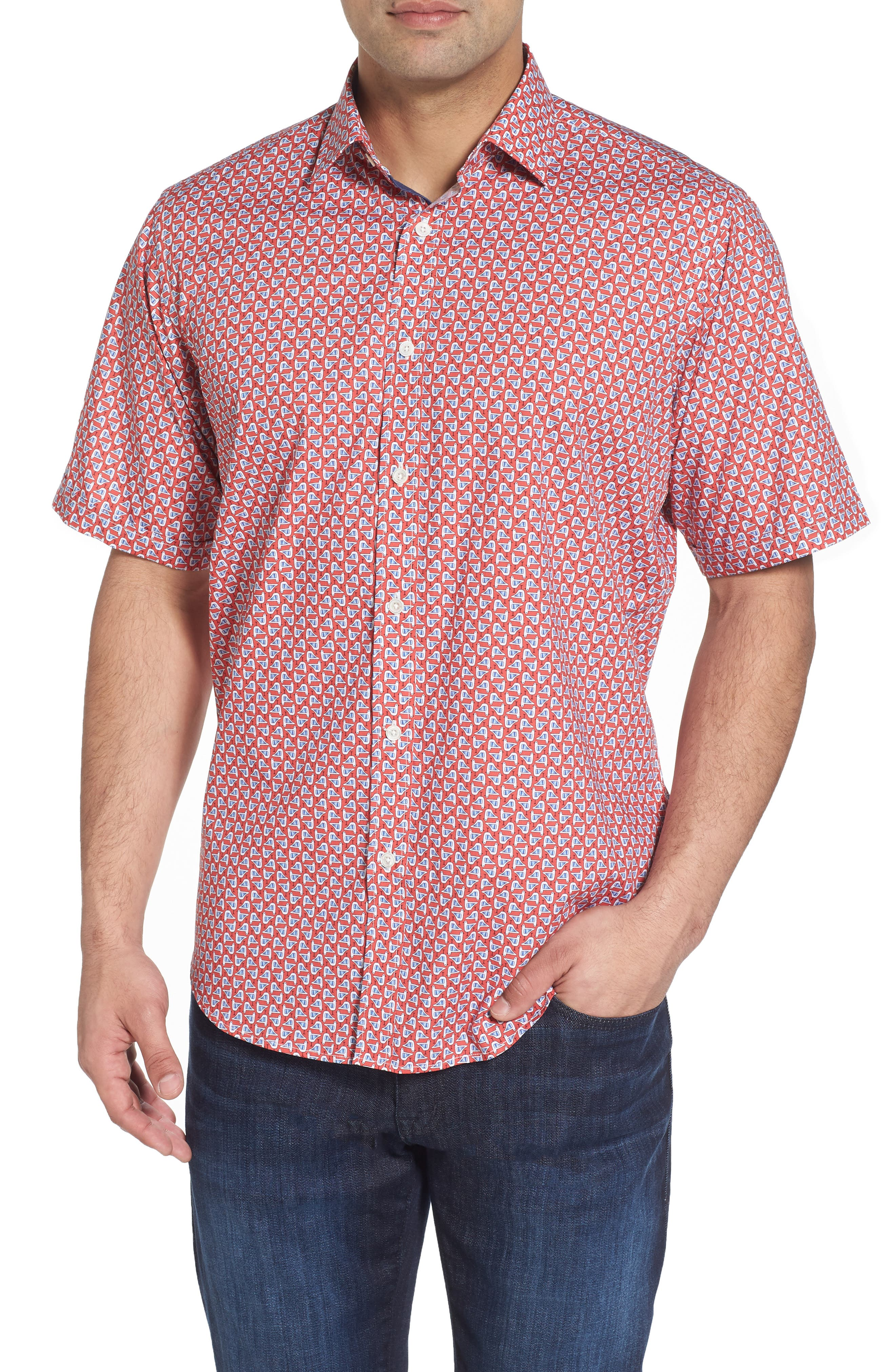 Classic Fit Seagull Print Sport Shirt,                         Main,                         color, Tangerine