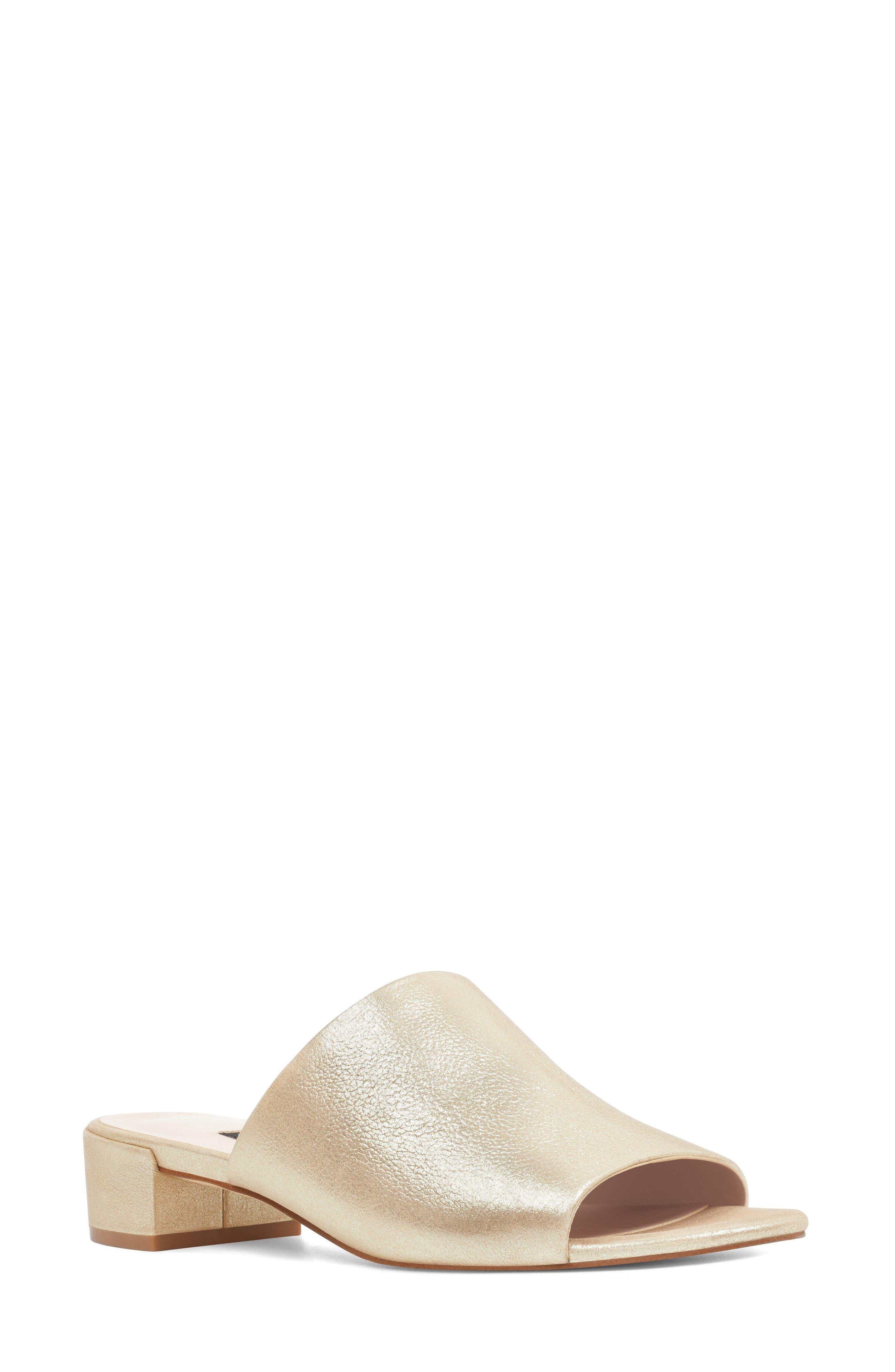 Raissa Slide Sandal,                         Main,                         color, Light Gold Leather