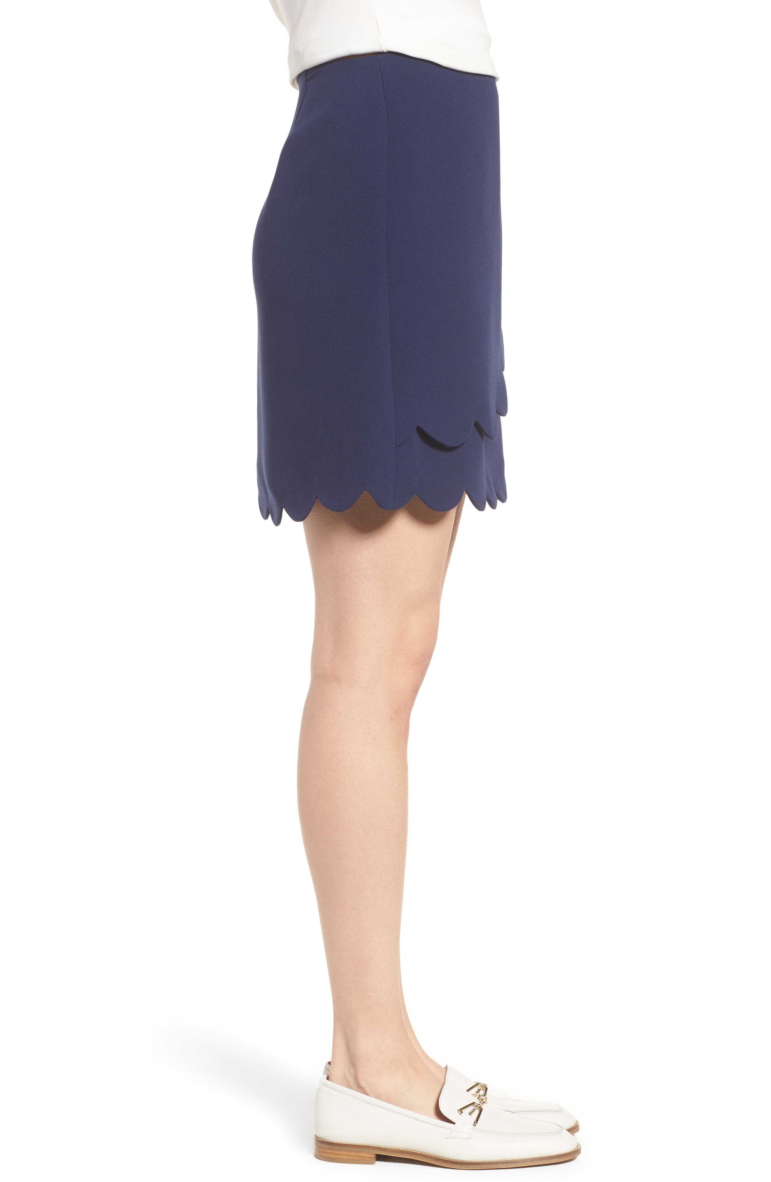 Scallop Skirt,                             Alternate thumbnail 3, color,                             Navy