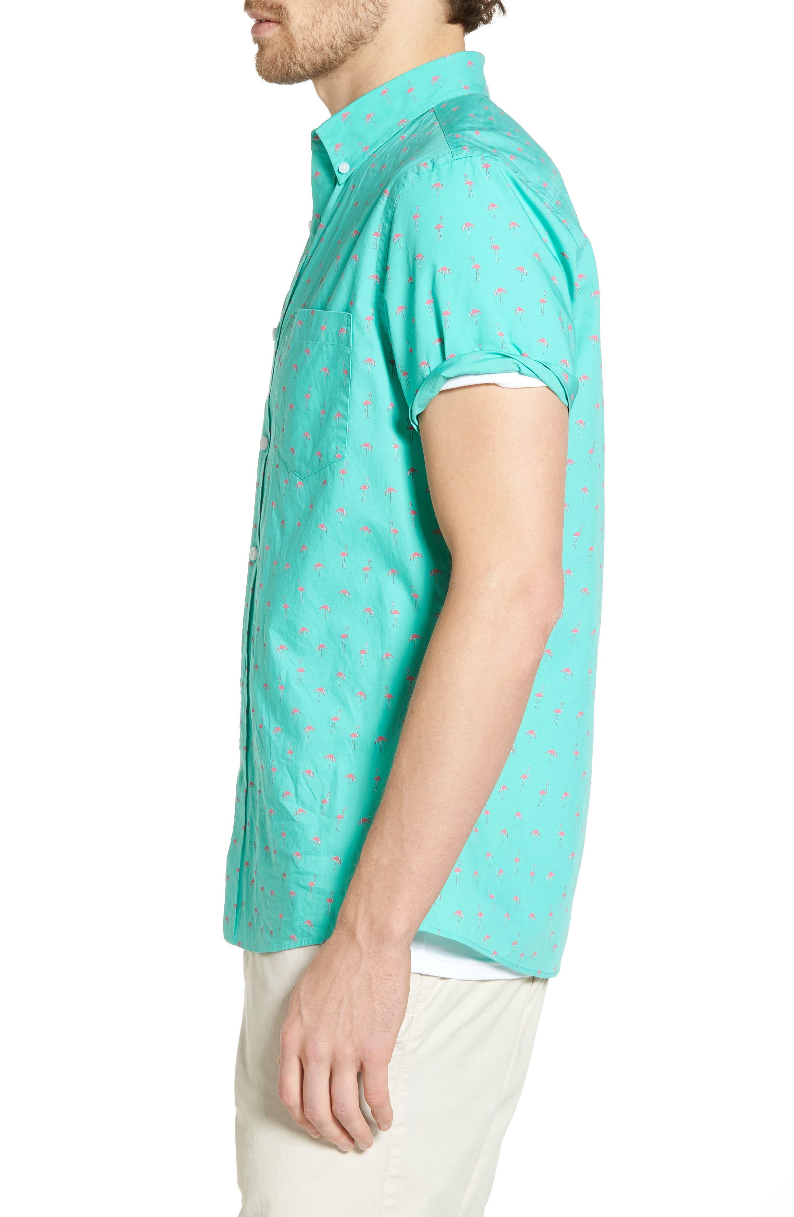 Slim Fit Flamingo Print Sport Shirt,                             Alternate thumbnail 3, color,                             Green Largo Pink Flamingos