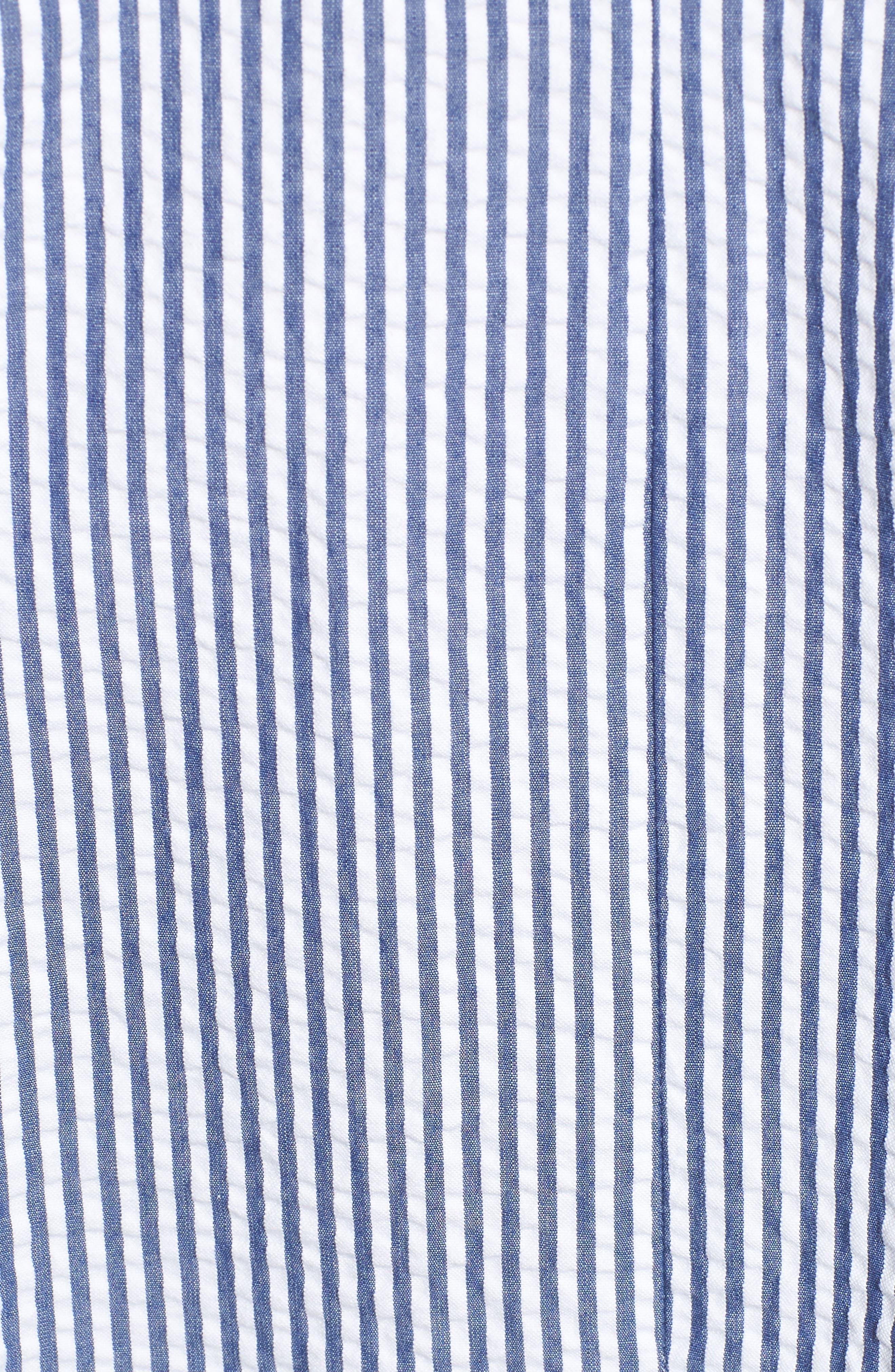 Love Circle Seersucker Stretch Cotton Dress,                             Alternate thumbnail 5, color,                             Navy