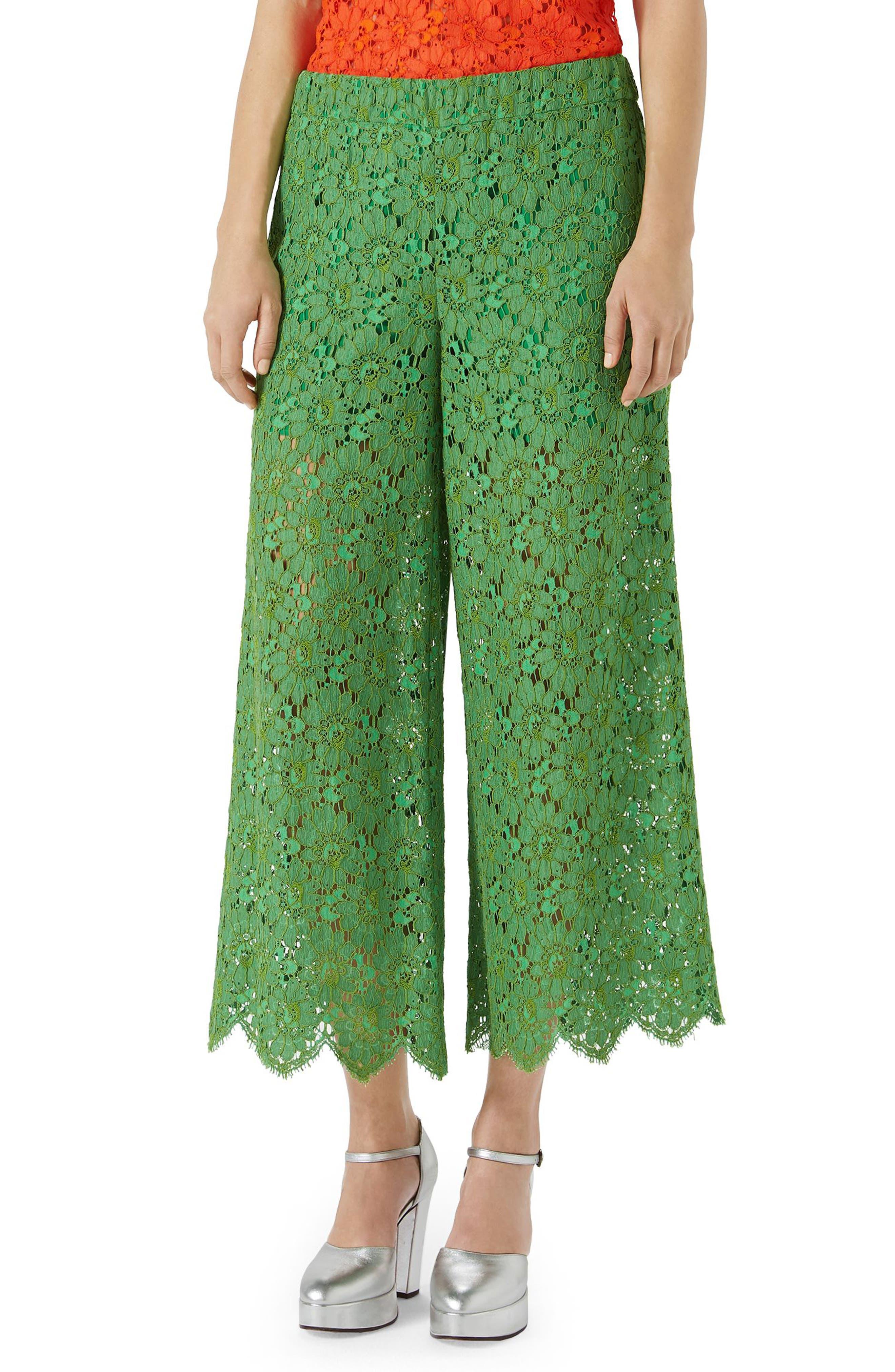 Gucci Lace Crop Wide Leg Pants