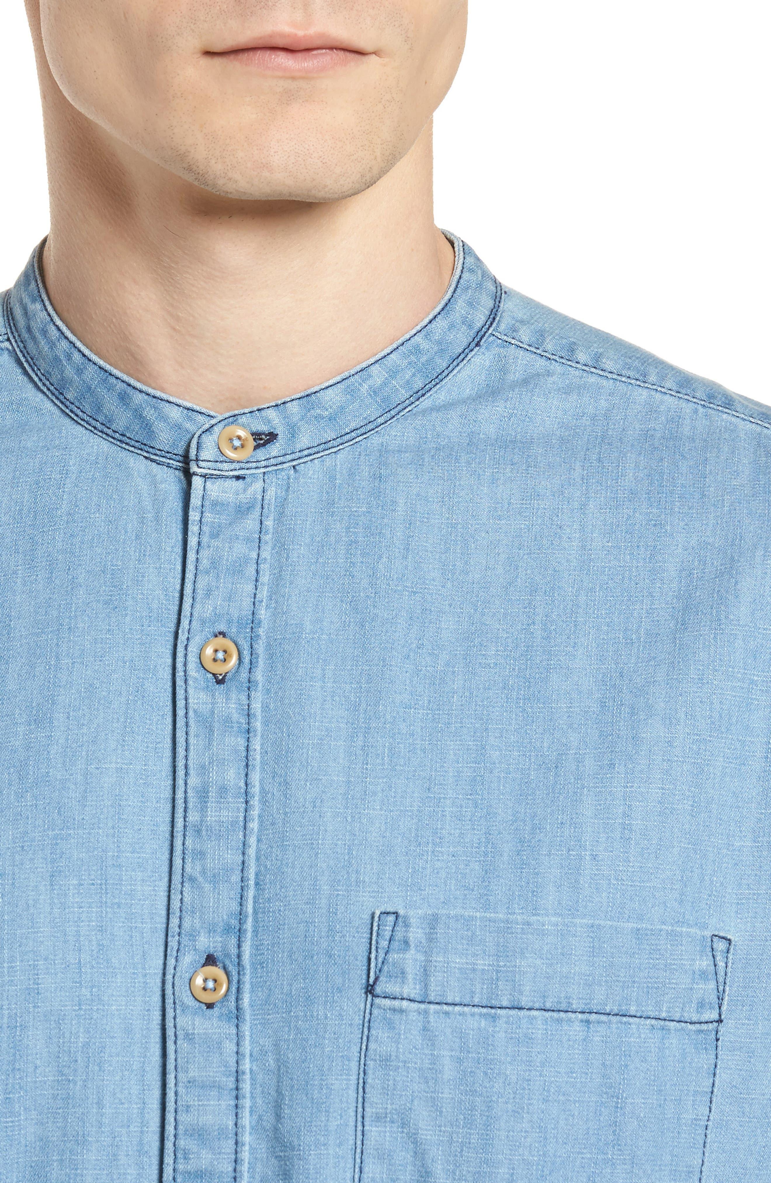 Core Denim Regular Fit Sport Shirt,                             Alternate thumbnail 4, color,                             Bleach