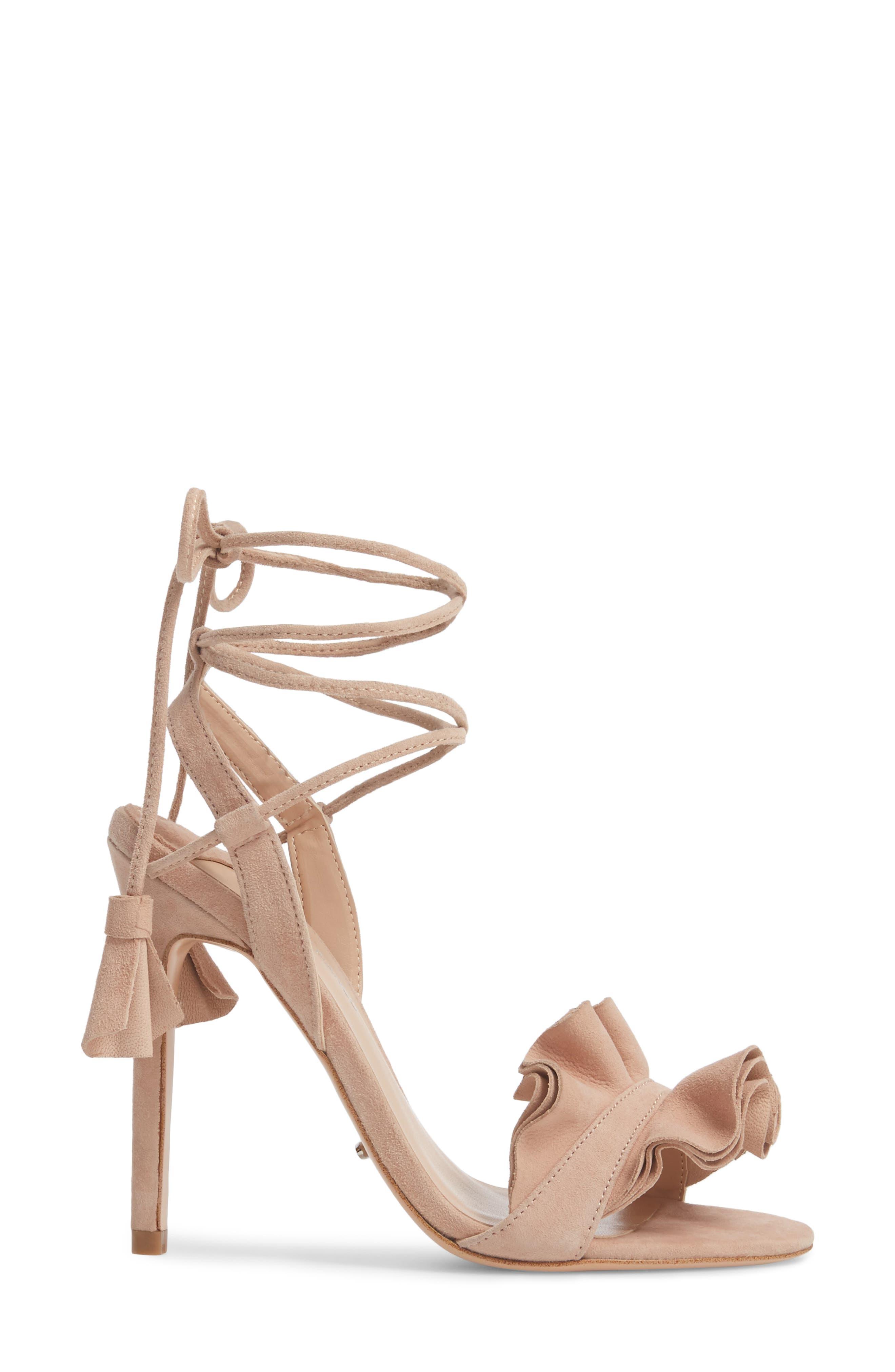 Kalipso Ruffled Wraparound Sandal,                             Alternate thumbnail 3, color,                             Blush Suede