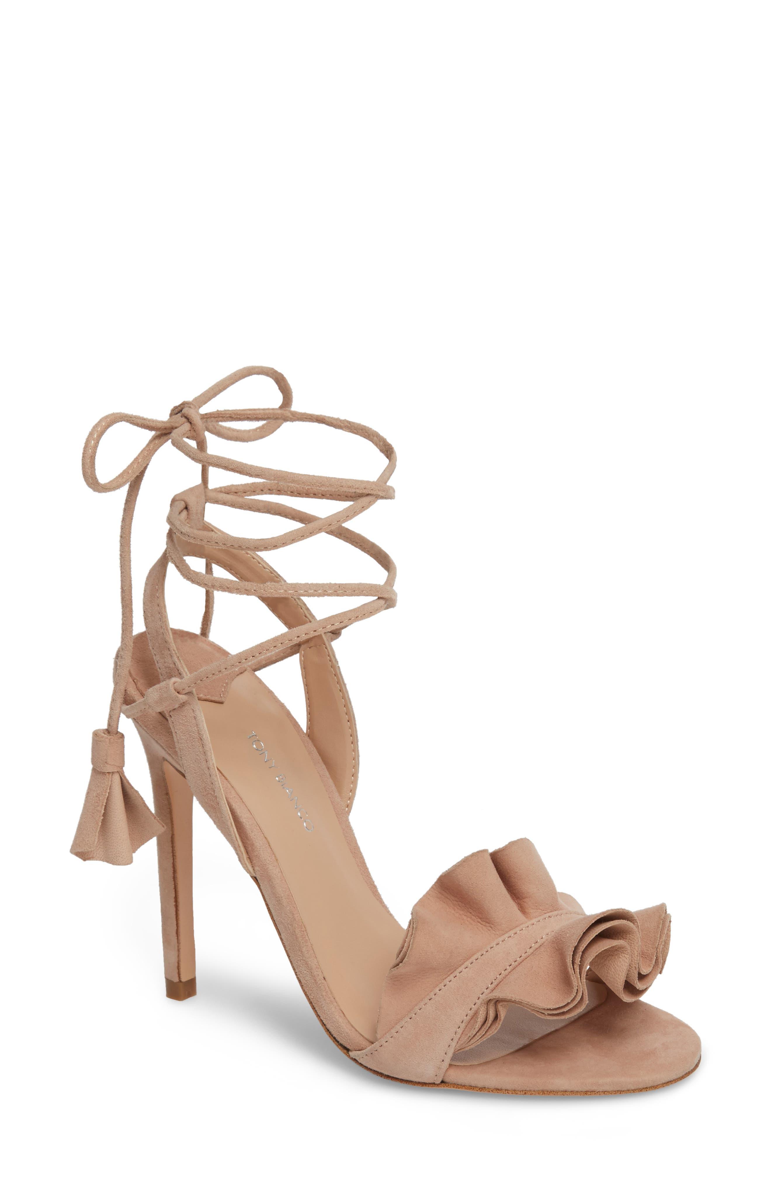 Kalipso Ruffled Wraparound Sandal,                         Main,                         color, Blush Suede