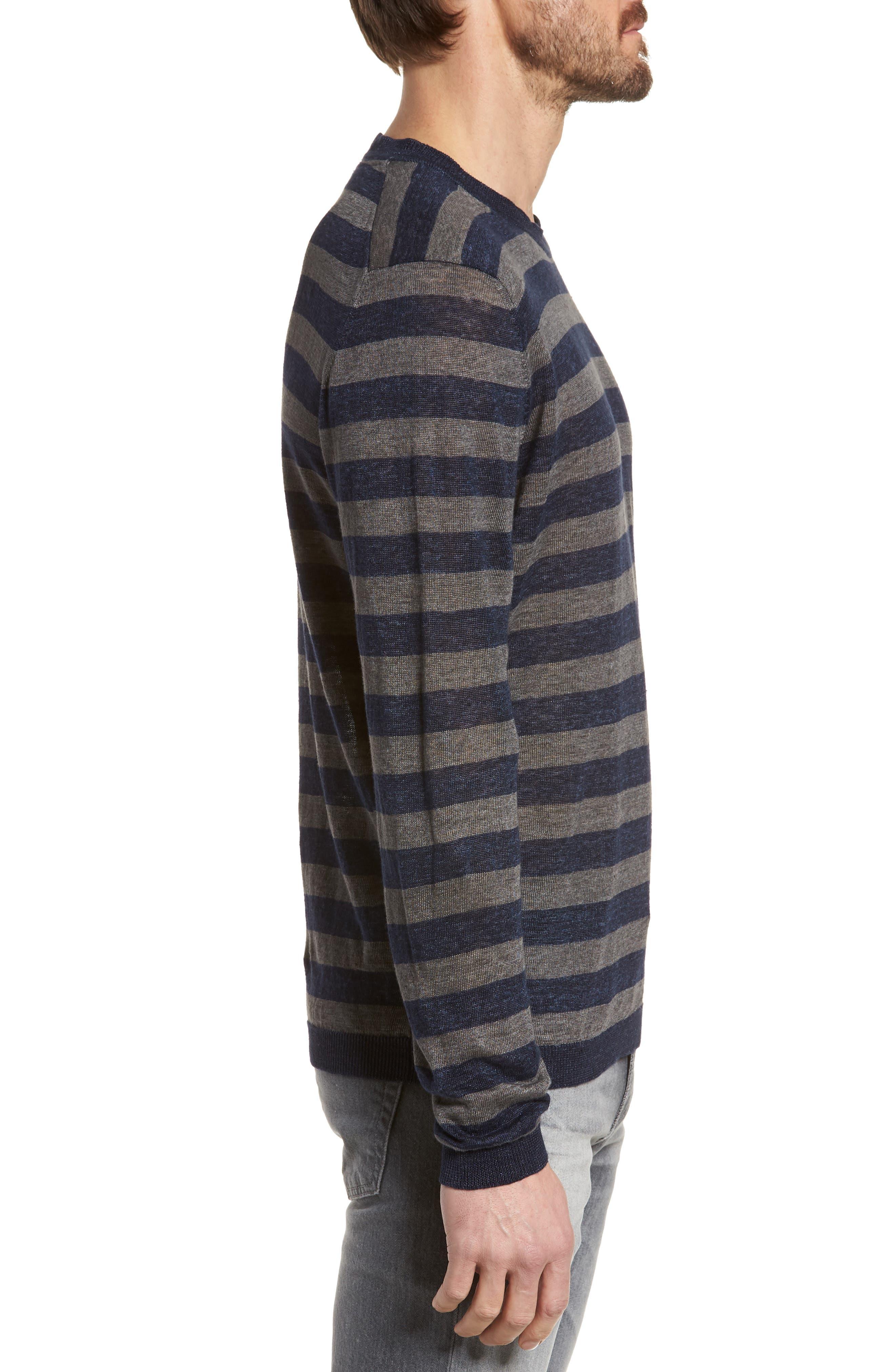 & Bros. Stripe Linen Sweater,                             Alternate thumbnail 3, color,                             Navy Stripe