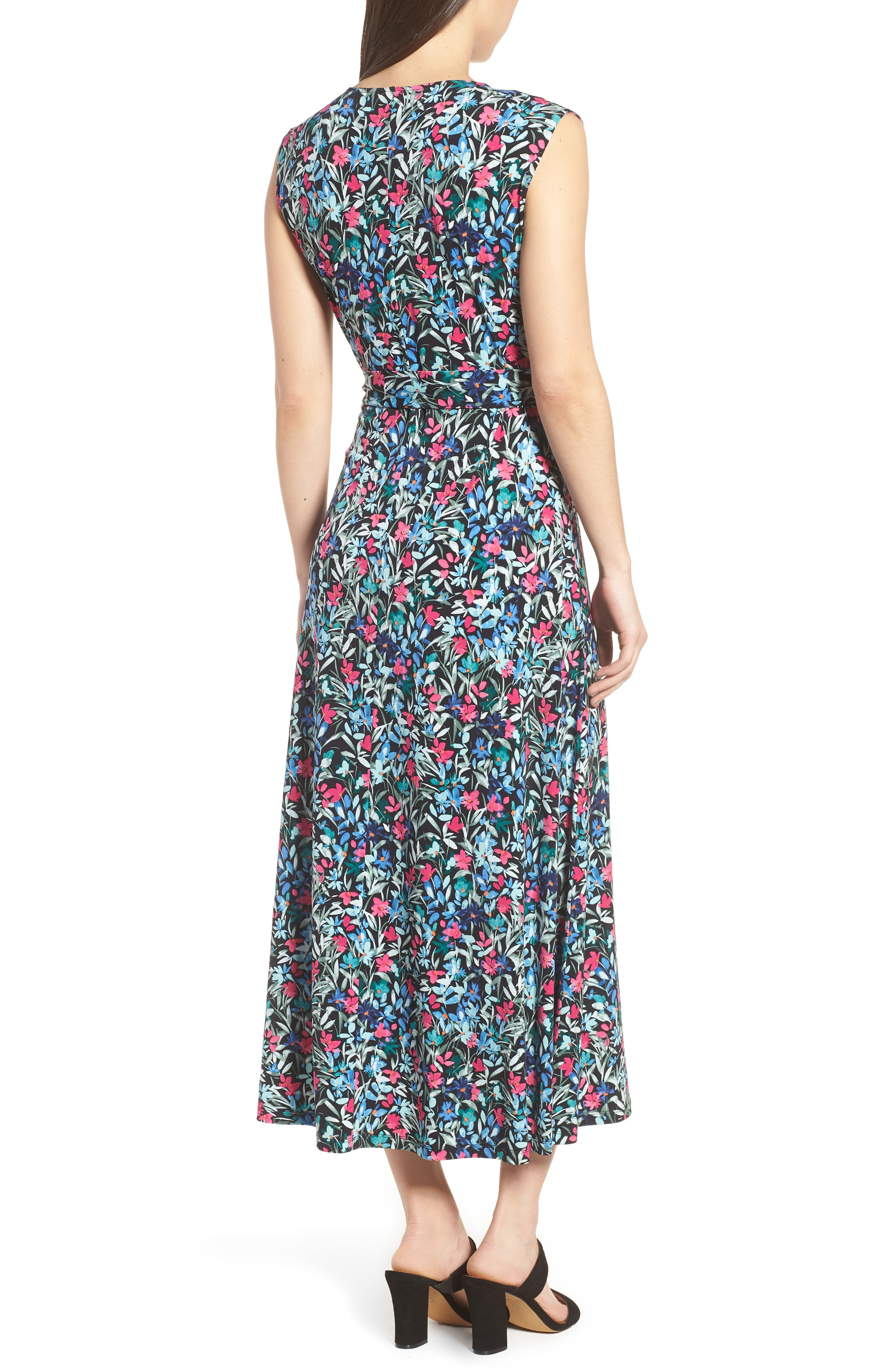 Radiant Flowers Sleeveless Tie Waist Dress,                             Alternate thumbnail 2, color,                             060-Rich Black