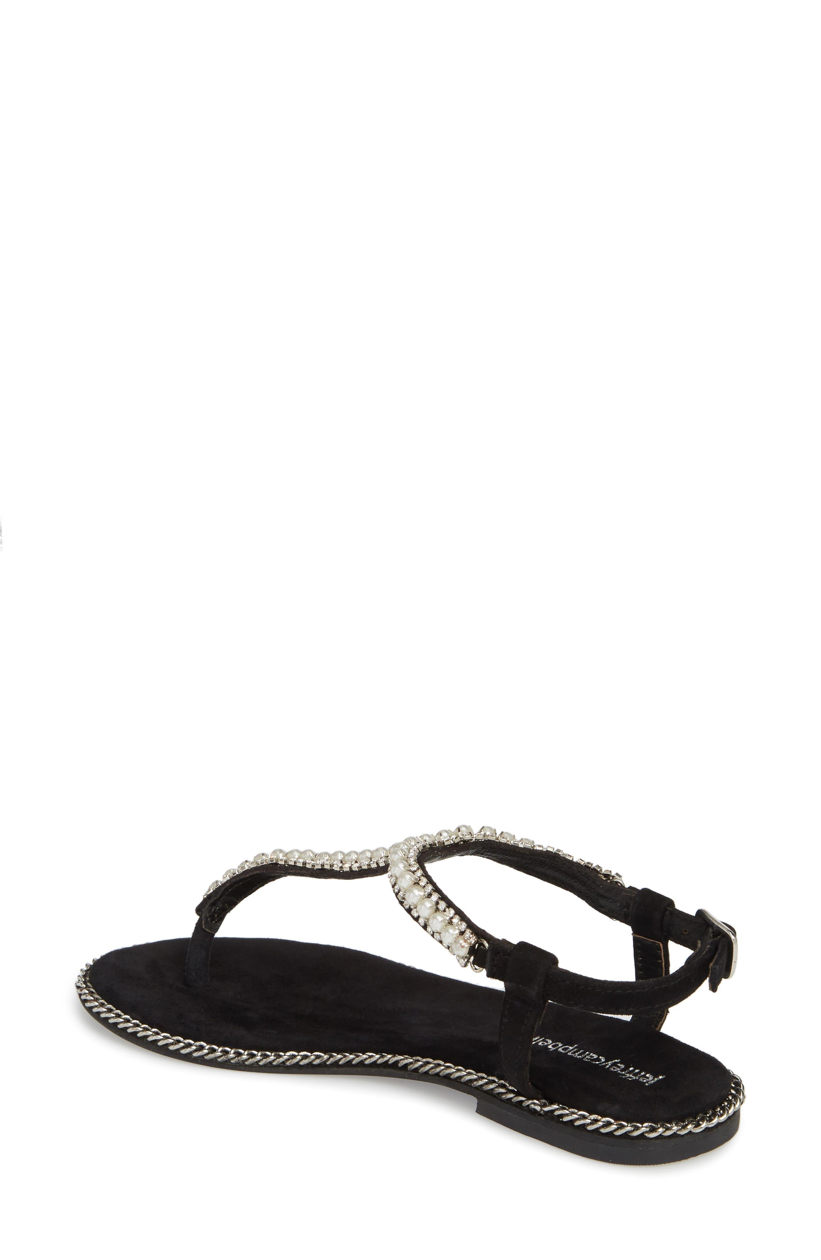 Embellished Ankle Strap Sandal,                             Alternate thumbnail 2, color,                             Black Suede