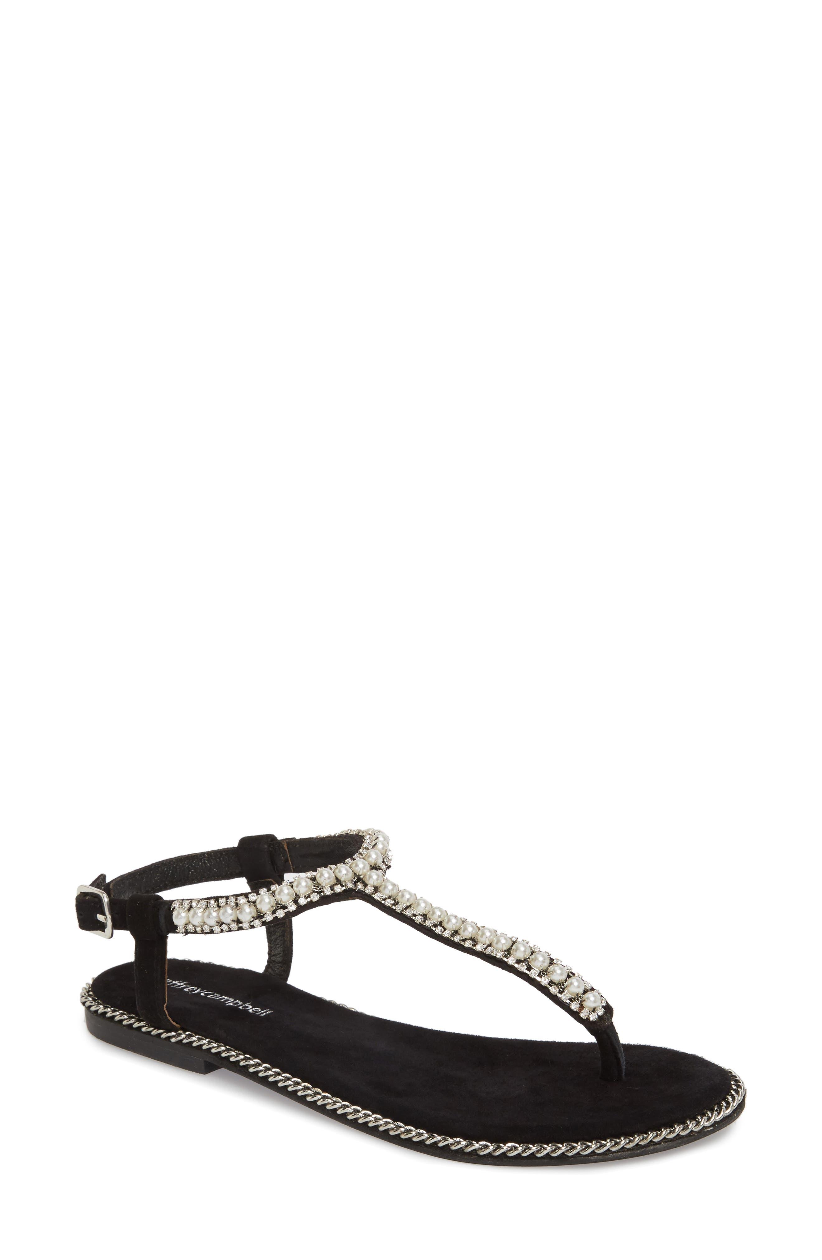 Embellished Ankle Strap Sandal,                             Main thumbnail 1, color,                             Black Suede